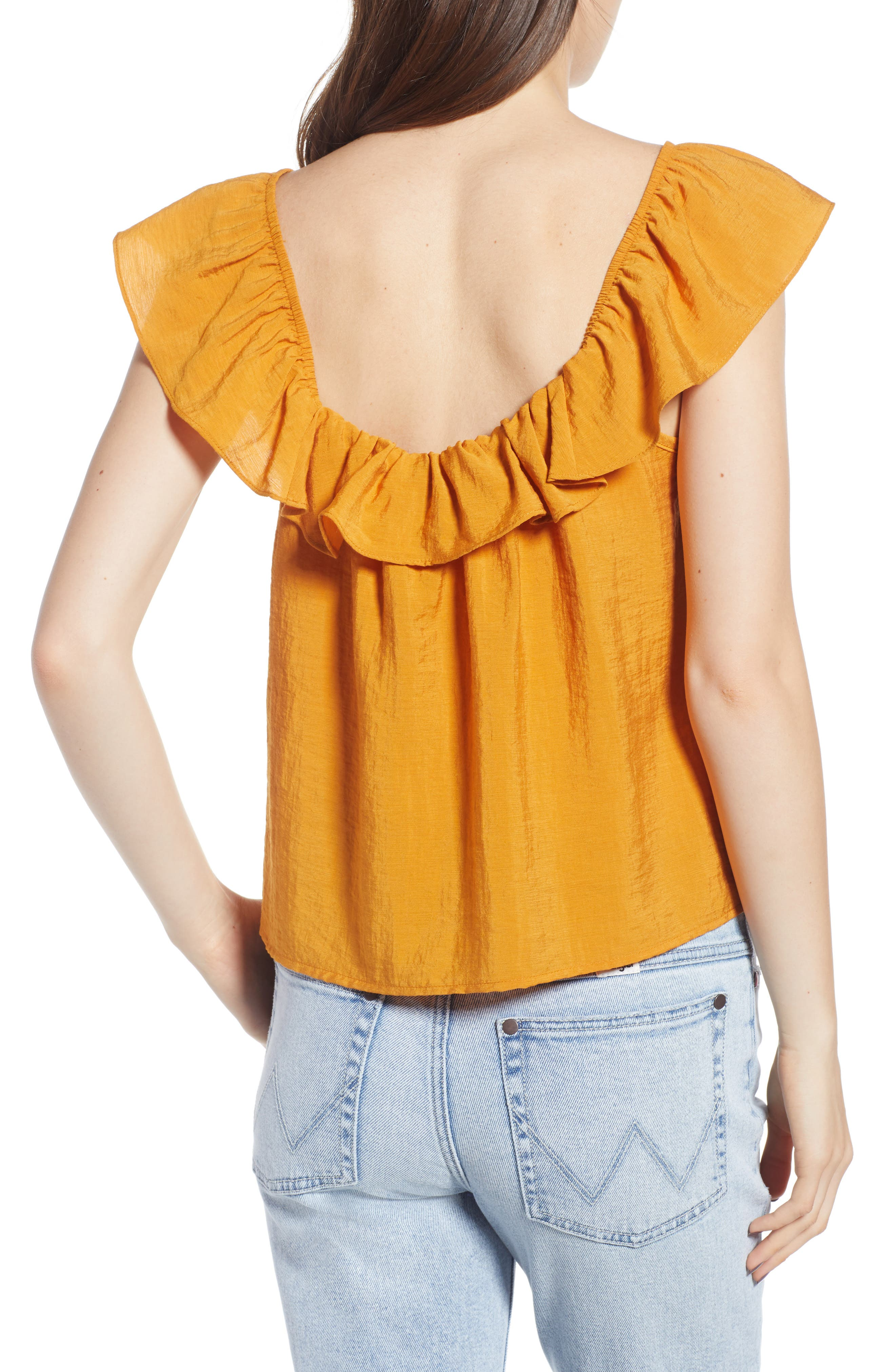 Ruffle Trim Top,                             Alternate thumbnail 2, color,                             Yellow Spruce