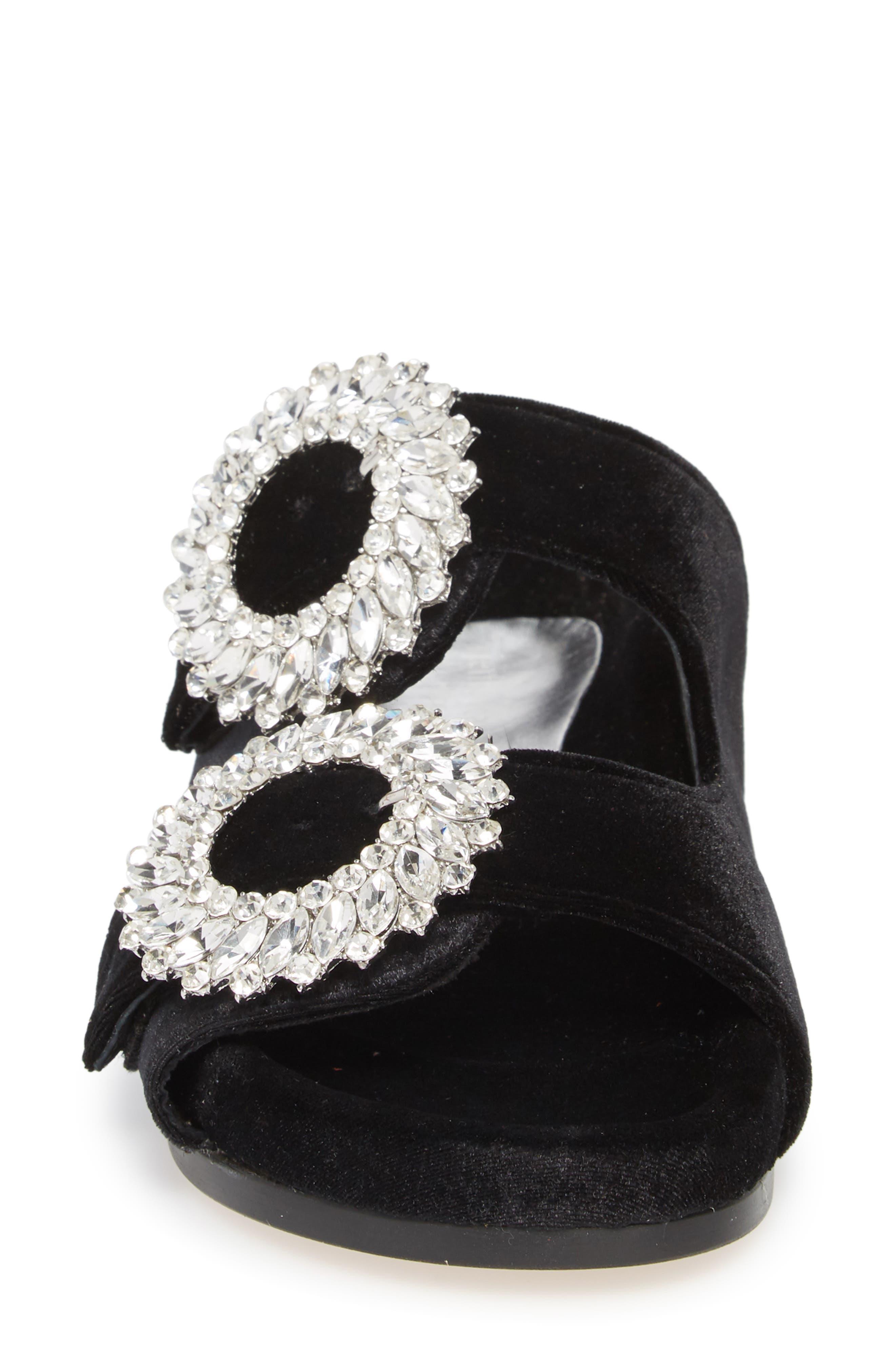 Izaro Embellished Slide Sandal,                             Alternate thumbnail 4, color,                             Black Velvet/ Silver
