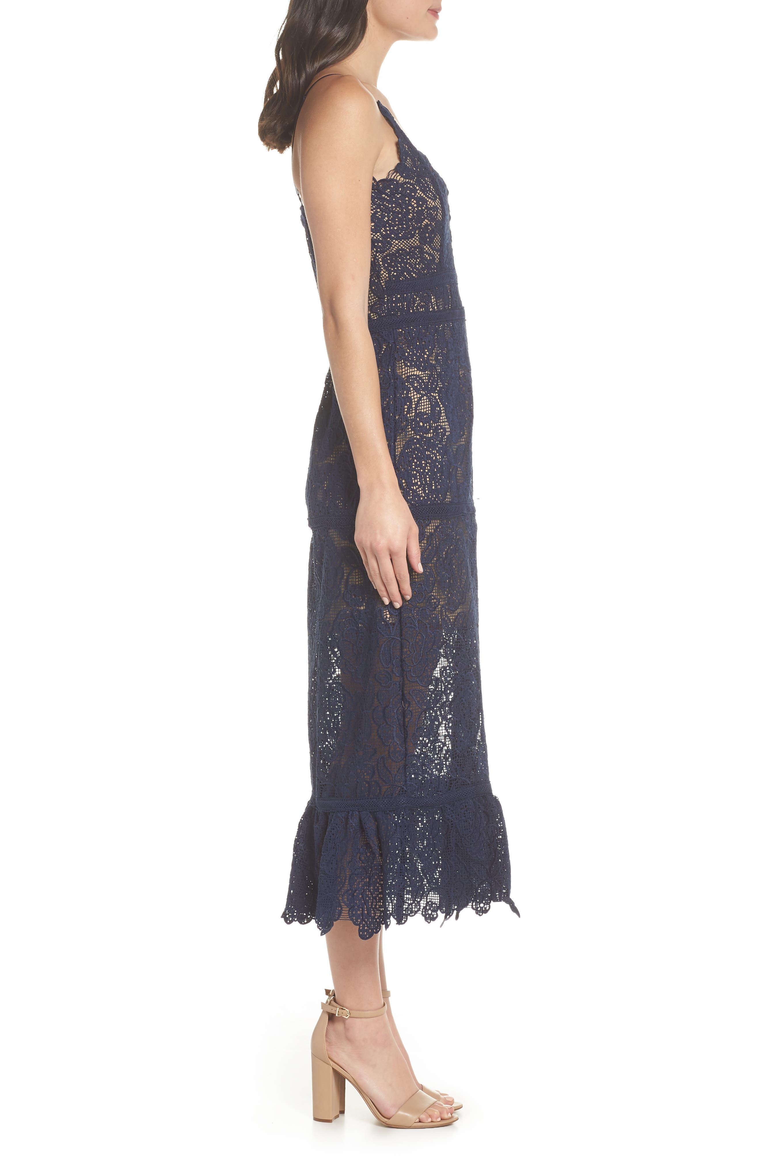 Majorie Lace Dress,                             Alternate thumbnail 4, color,                             Navy