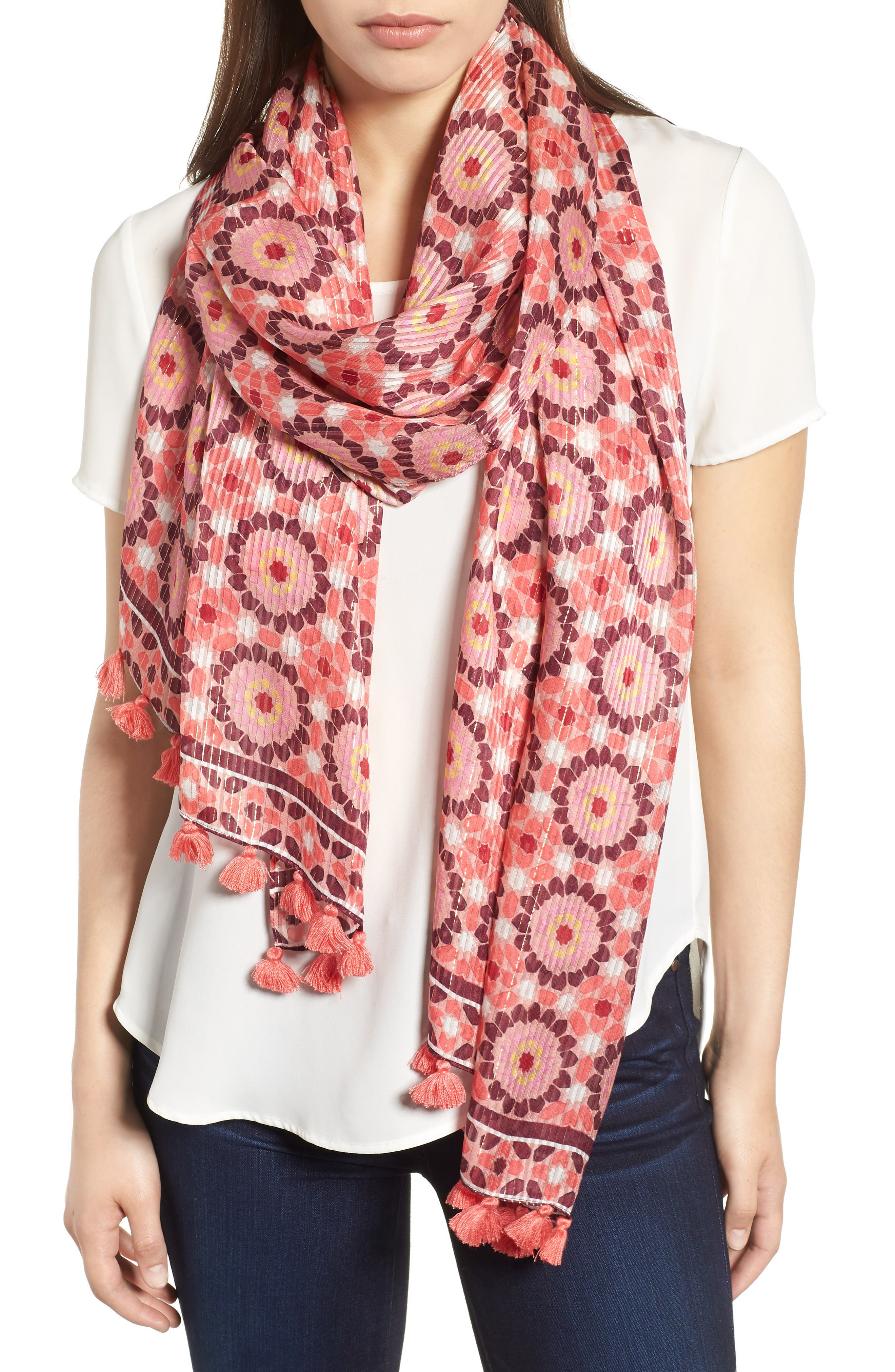 floral mosaic scarf,                             Main thumbnail 1, color,                             Conch Shell