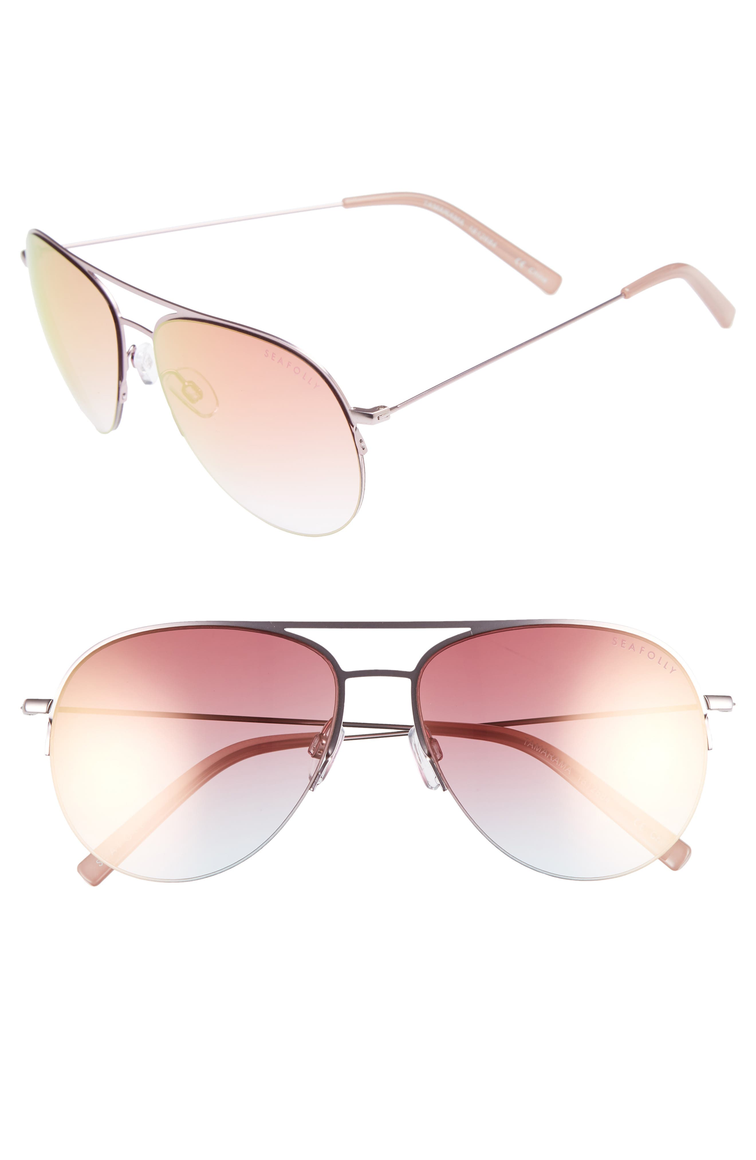 TAMARAMA 60MM AVIATOR SUNGLASSES - ROSE