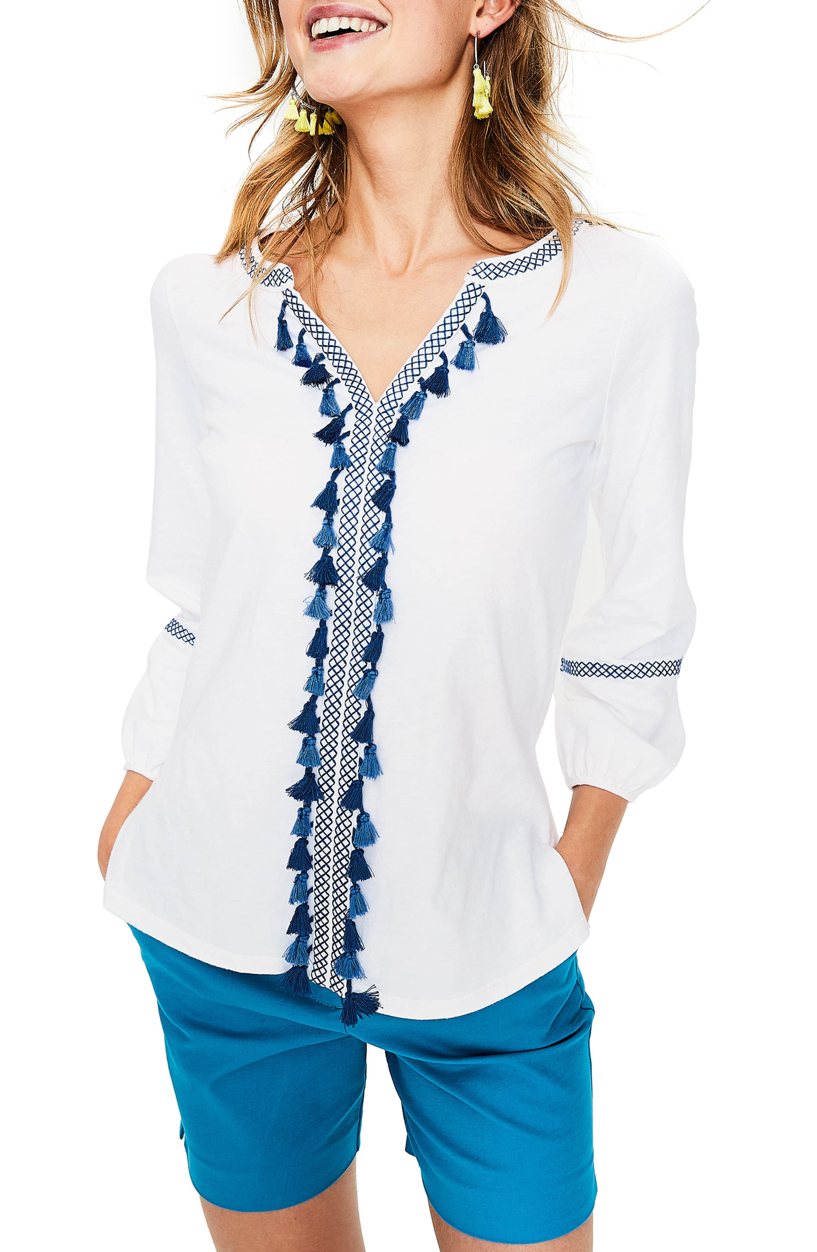 Tassel Embroidered Top,                         Main,                         color, White