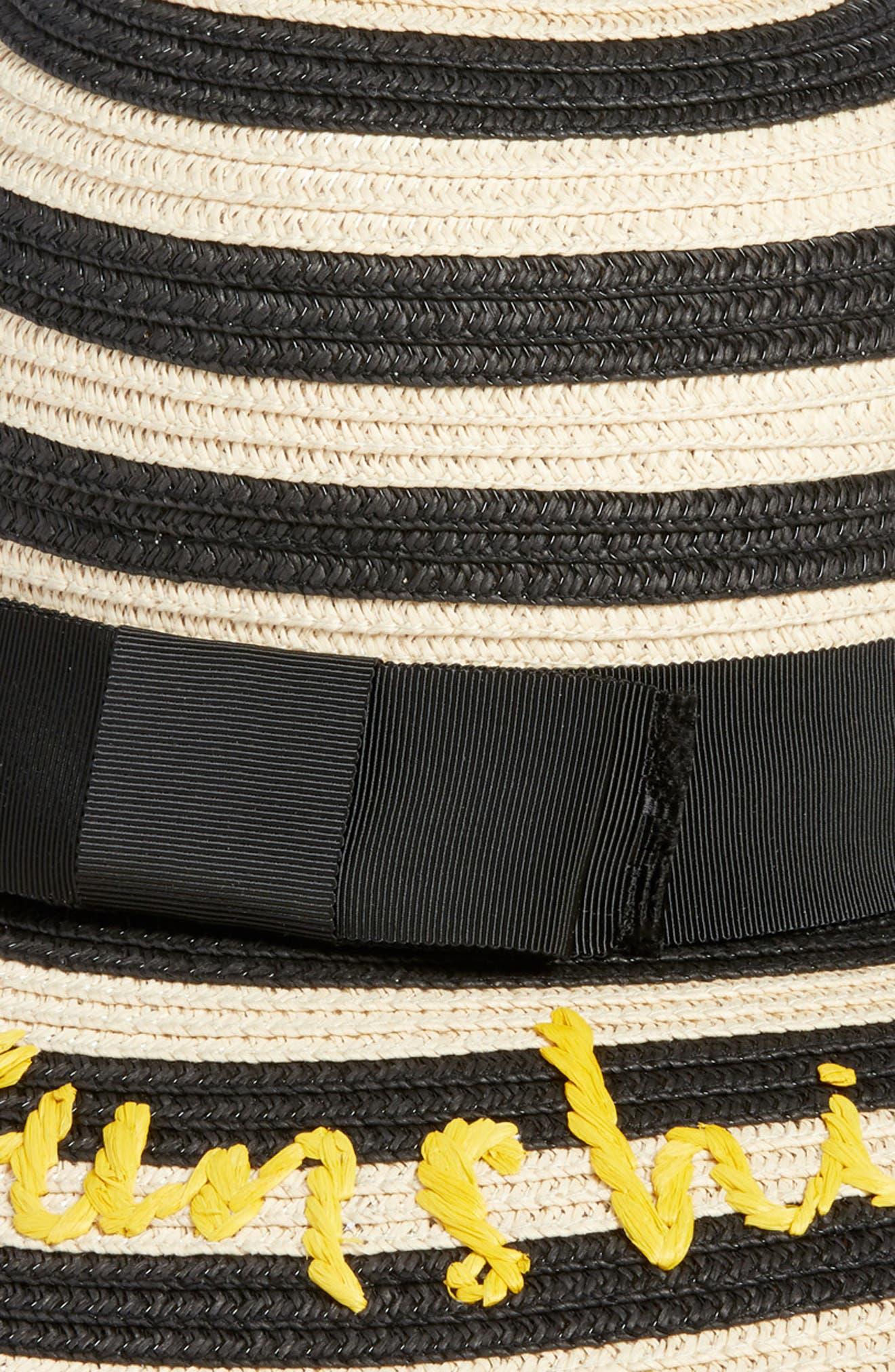 hey sunshine straw sun hat,                             Alternate thumbnail 2, color,                             Black