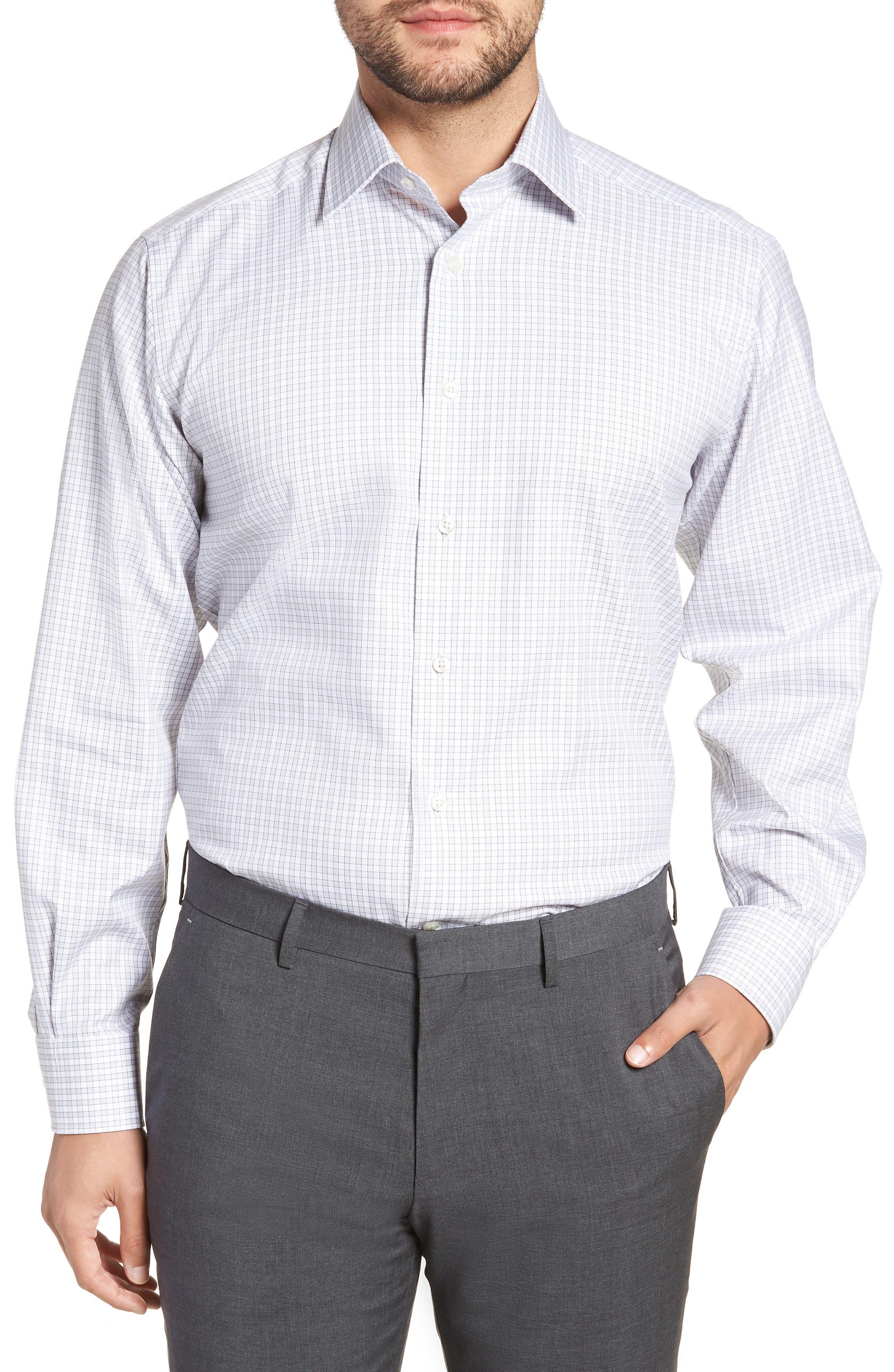 Regular Fit Check Dress Shirt,                         Main,                         color, Gray