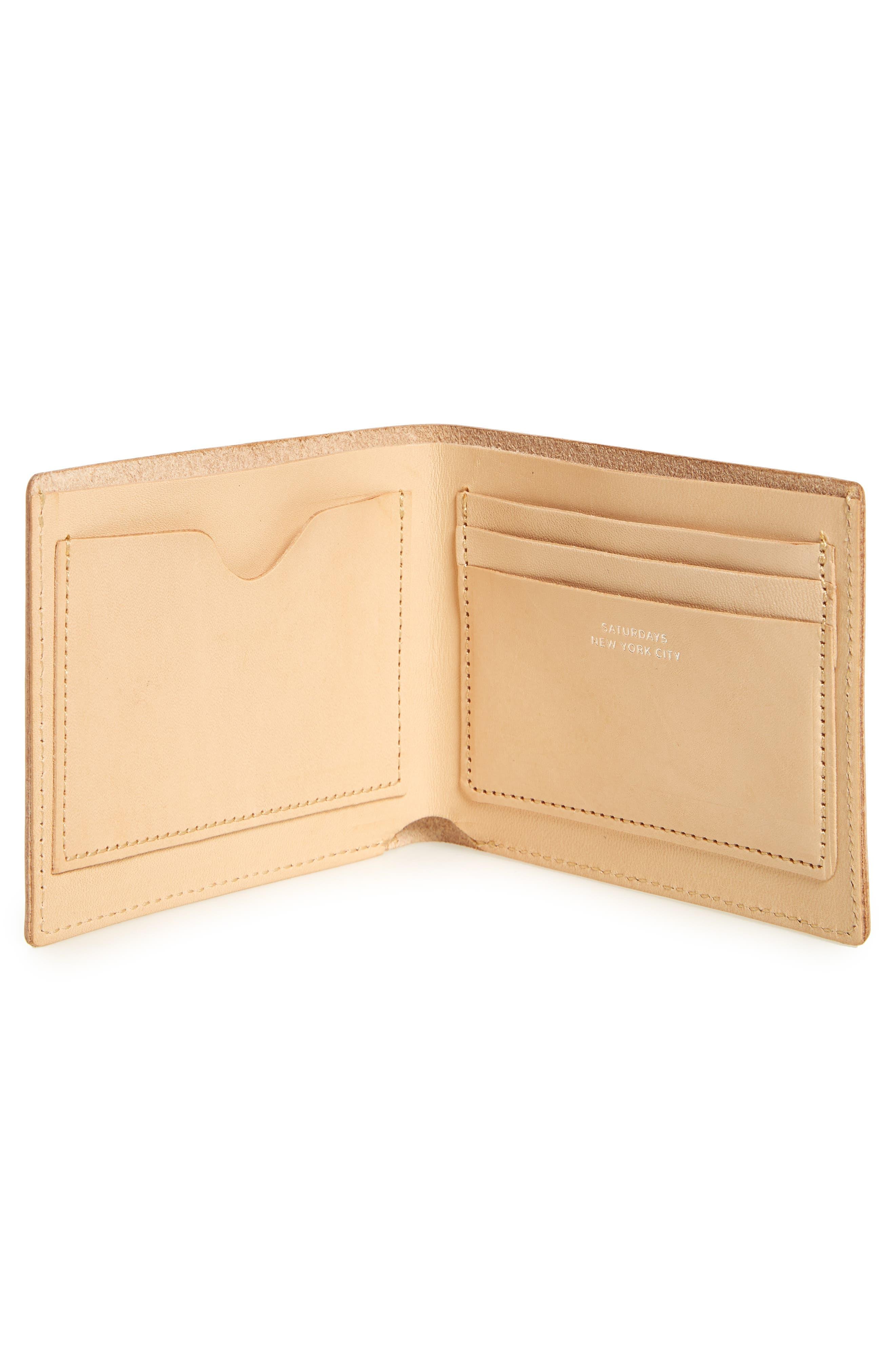 Bifold Leather Wallet,                             Alternate thumbnail 3, color,                             Vegetable Tan