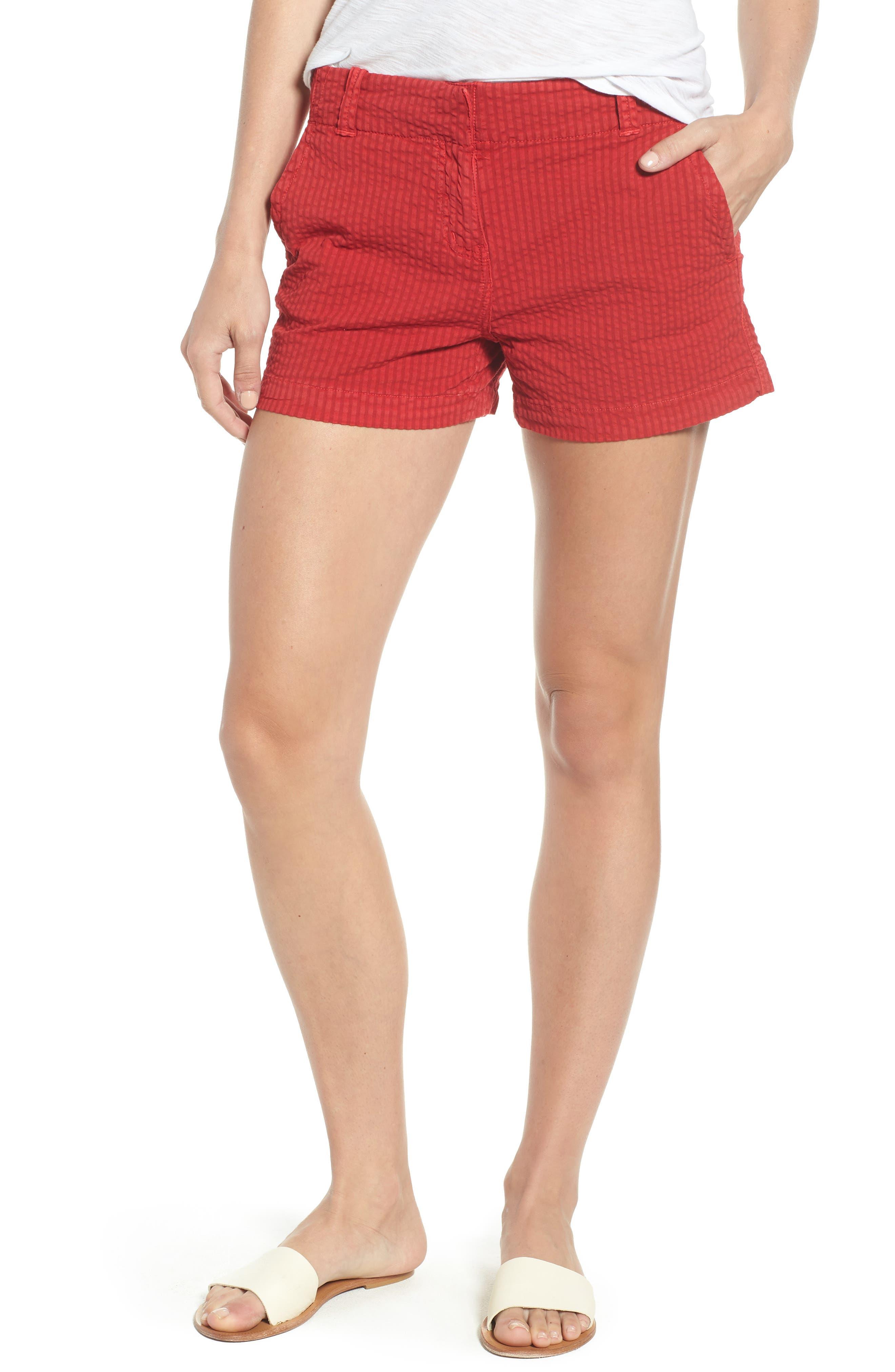 Everyday Seersucker Shorts,                             Main thumbnail 1, color,                             Red Velvet