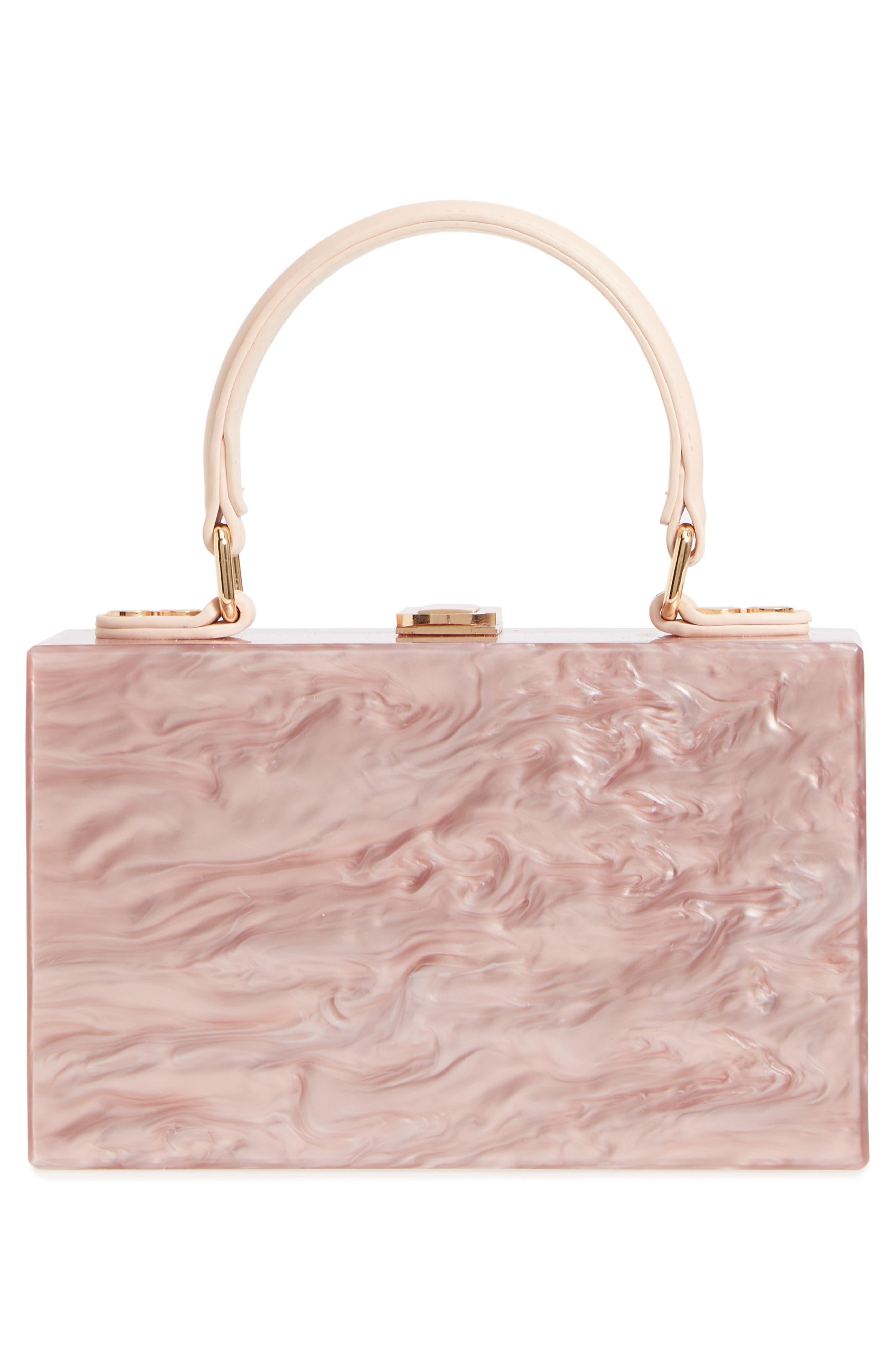 Clara Top Handle Box Clutch,                             Alternate thumbnail 3, color,                             Pink
