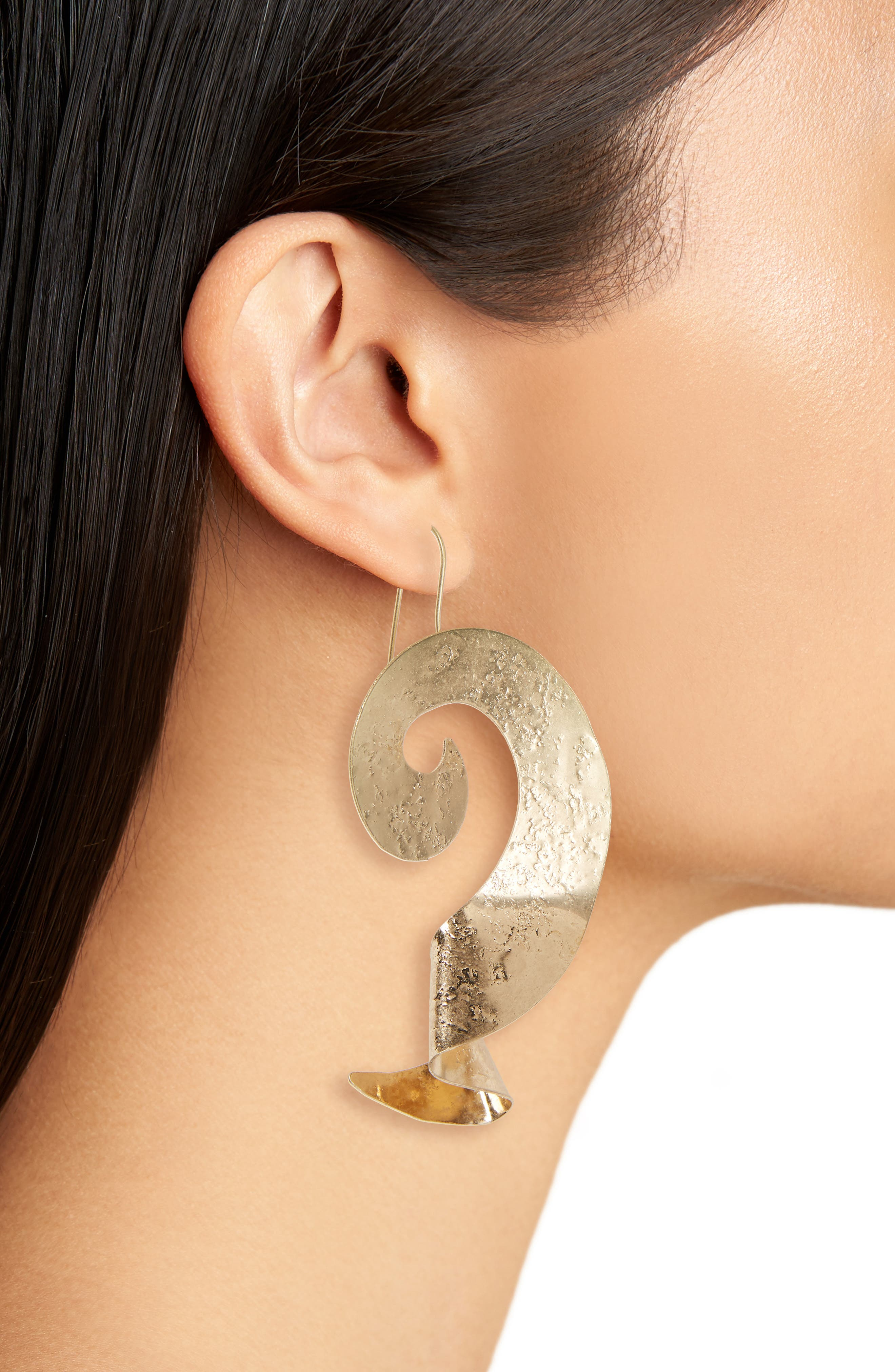 Couture Swirl Metal Earrings,                             Alternate thumbnail 2, color,                             Gold