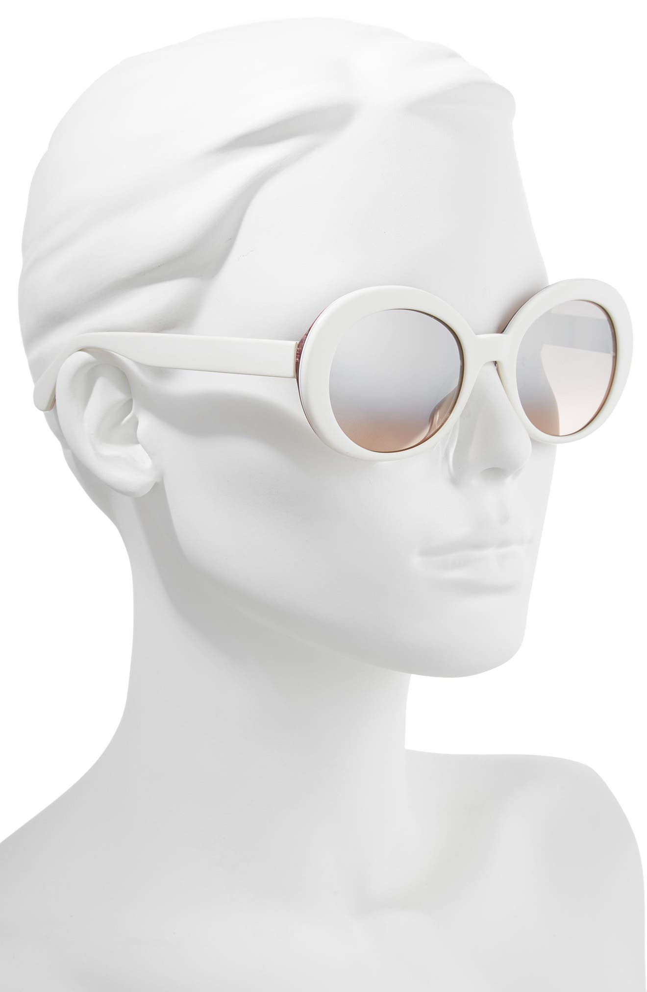 cindra 54mm gradient round sunglasses,                             Alternate thumbnail 2, color,                             Ivory