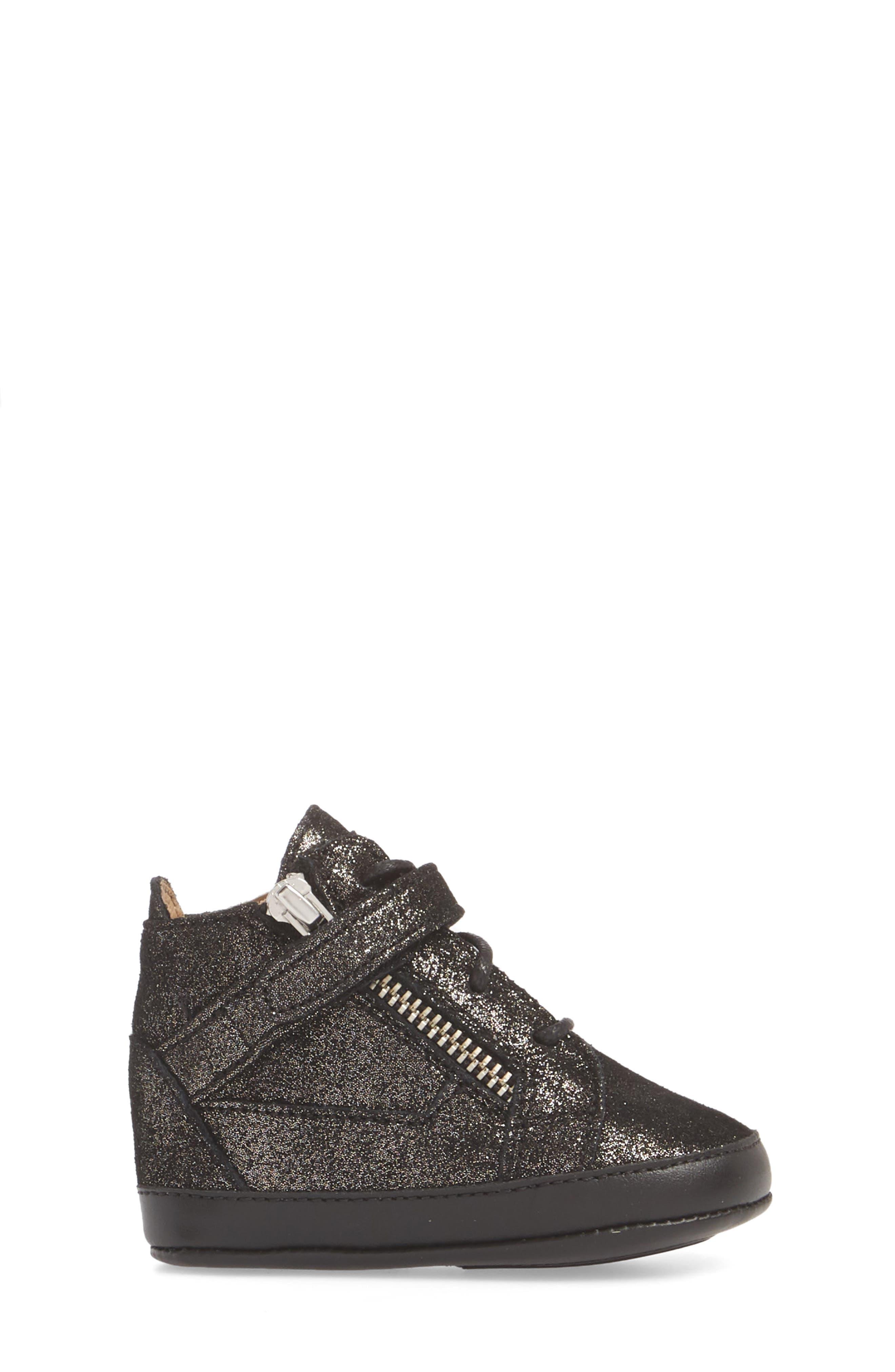 Culla London High Top Crib Sneaker,                             Alternate thumbnail 3, color,                             Black Glitter