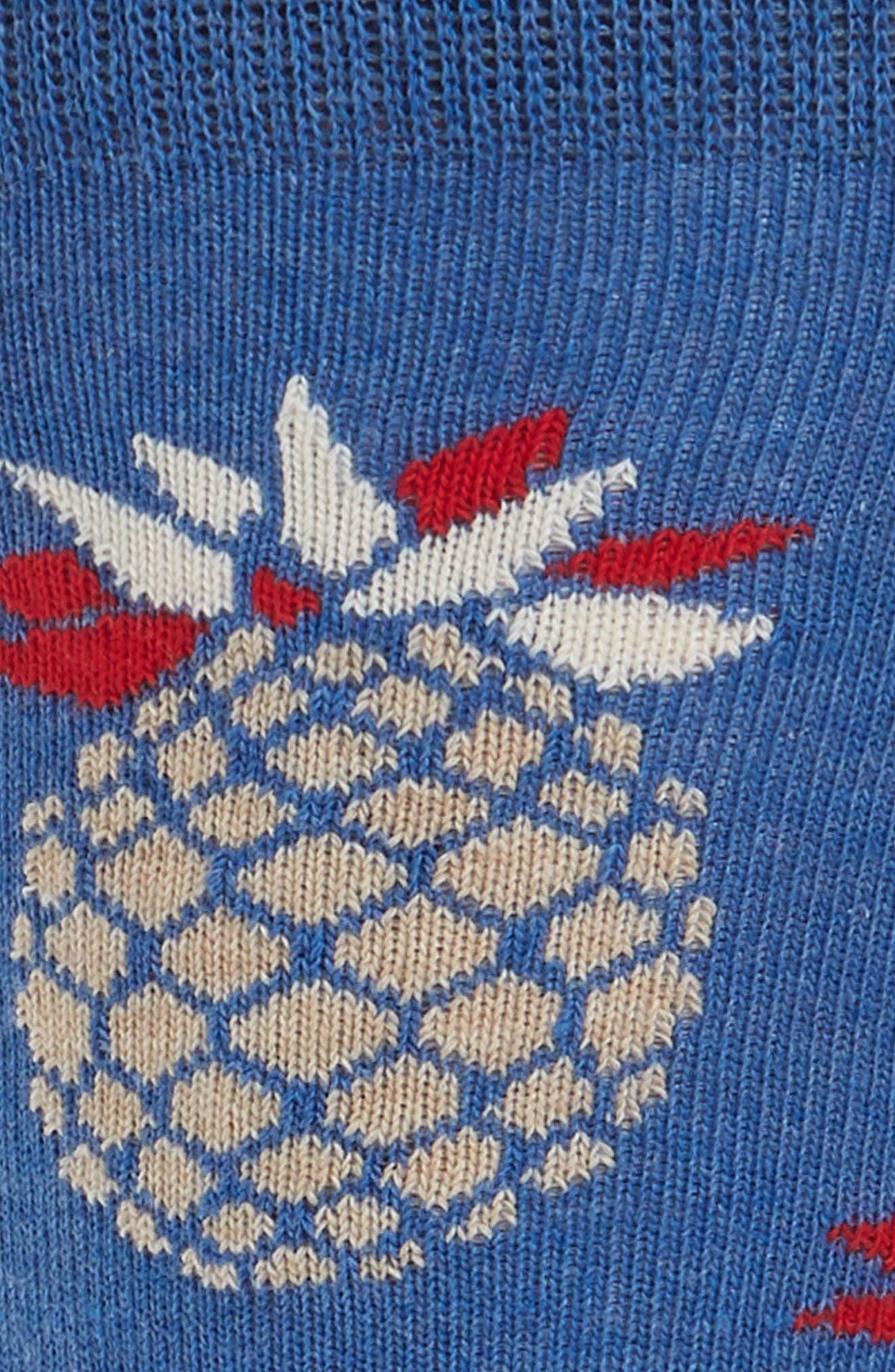 Pineapple Crew Socks,                             Alternate thumbnail 2, color,                             Blue Multi