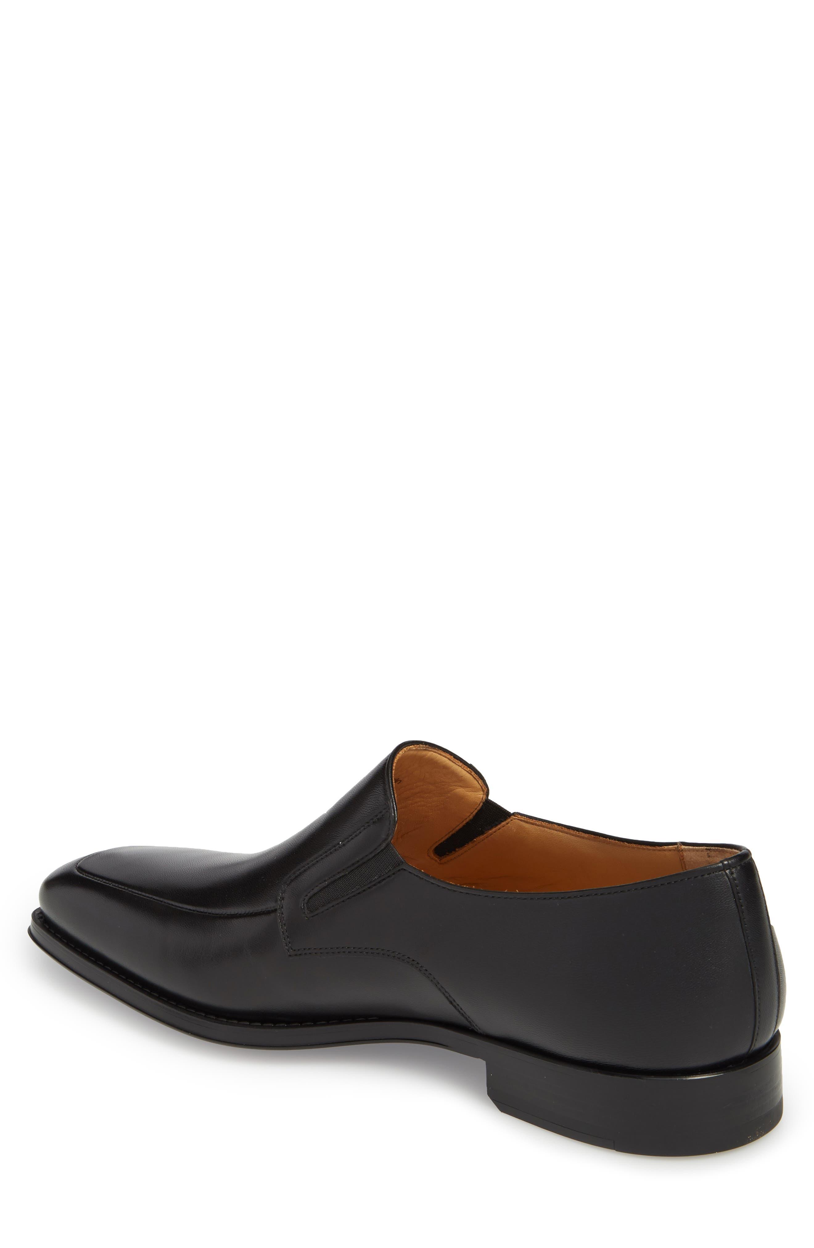 Fabricio Apron Toe Slip-On,                             Alternate thumbnail 2, color,                             Black Leather