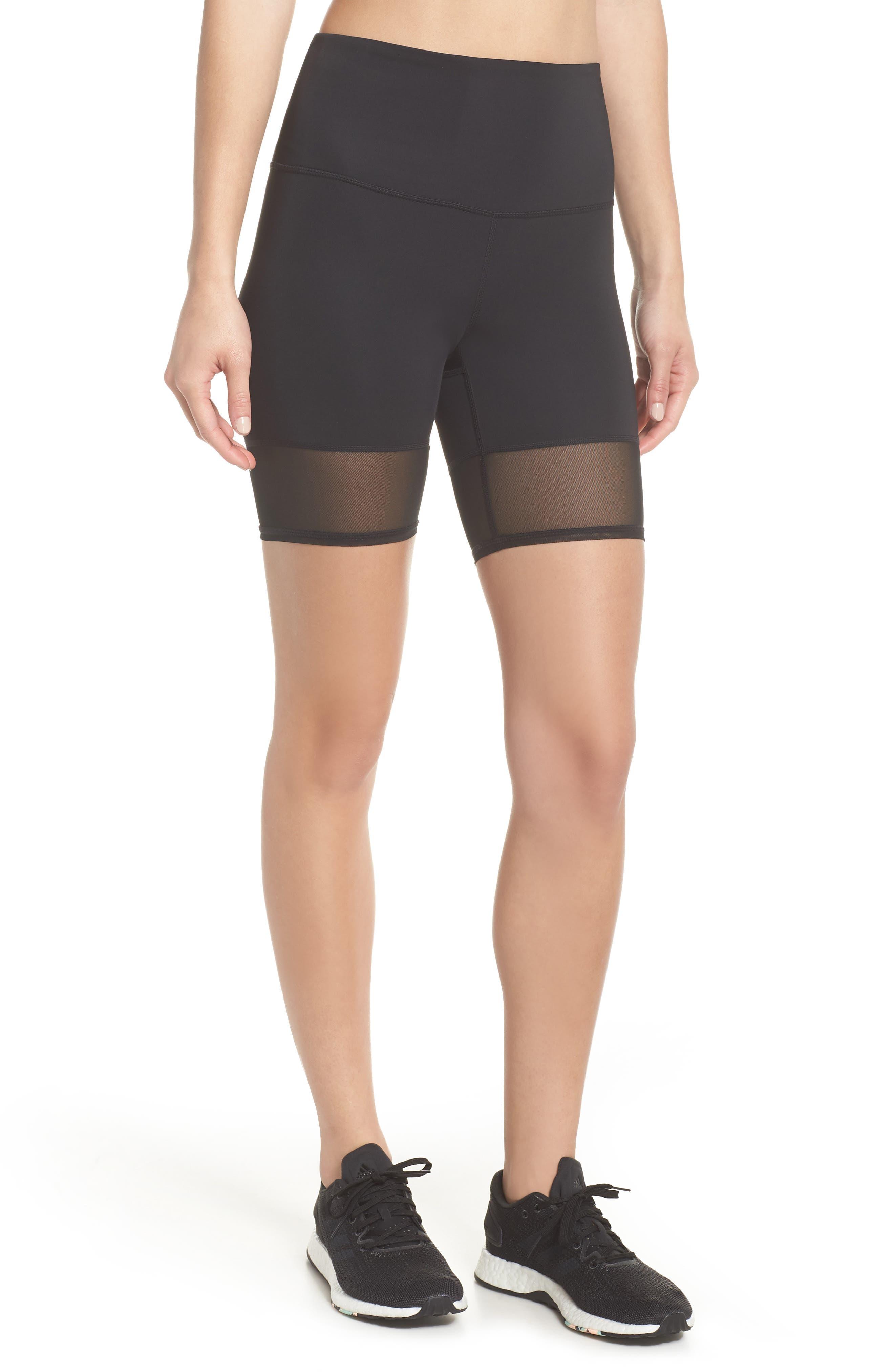 Mia Vision High Waist Mesh Bike Shorts,                             Main thumbnail 1, color,                             Black