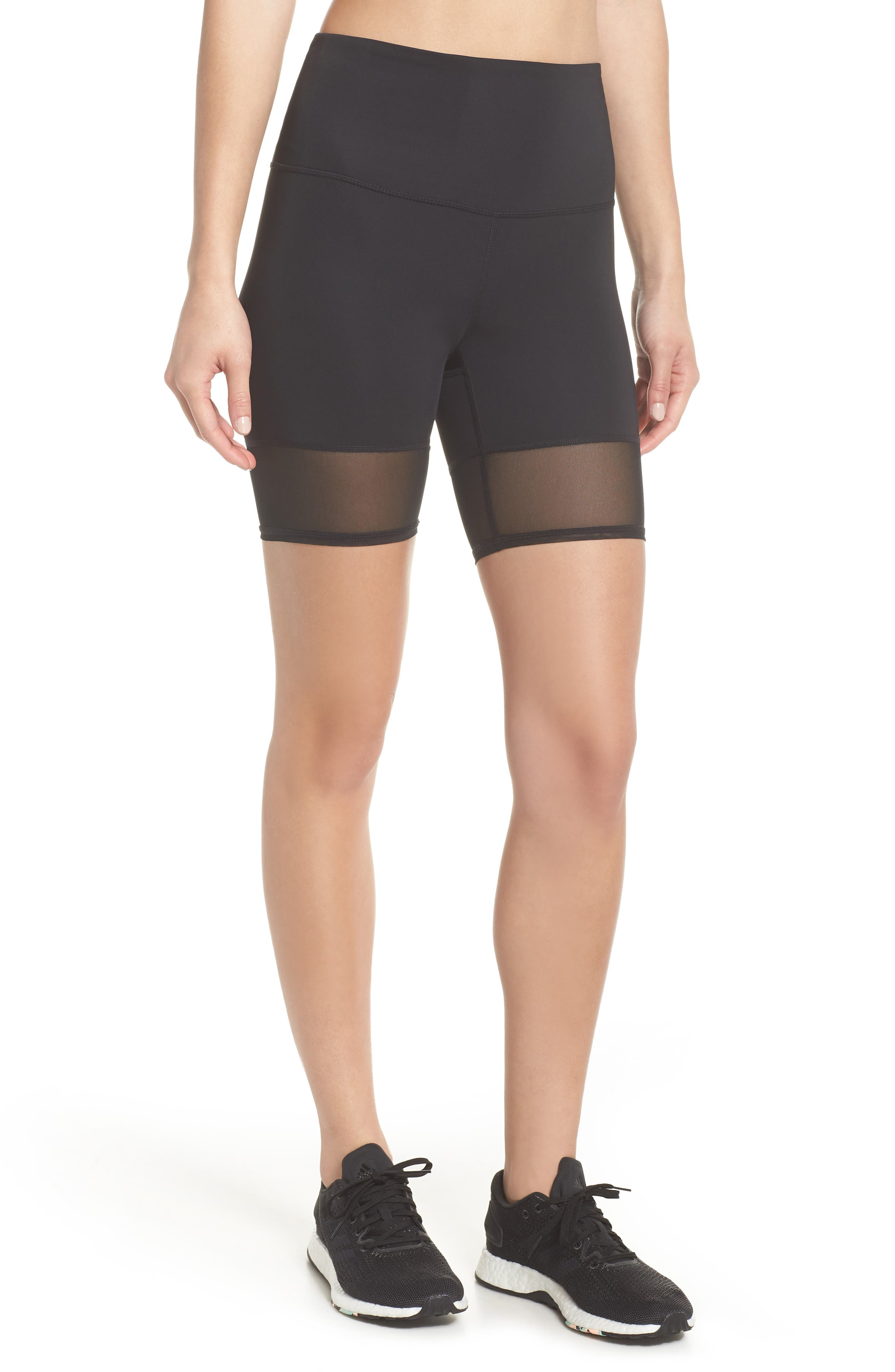 Mia Vision High Waist Mesh Bike Shorts,                         Main,                         color, Black