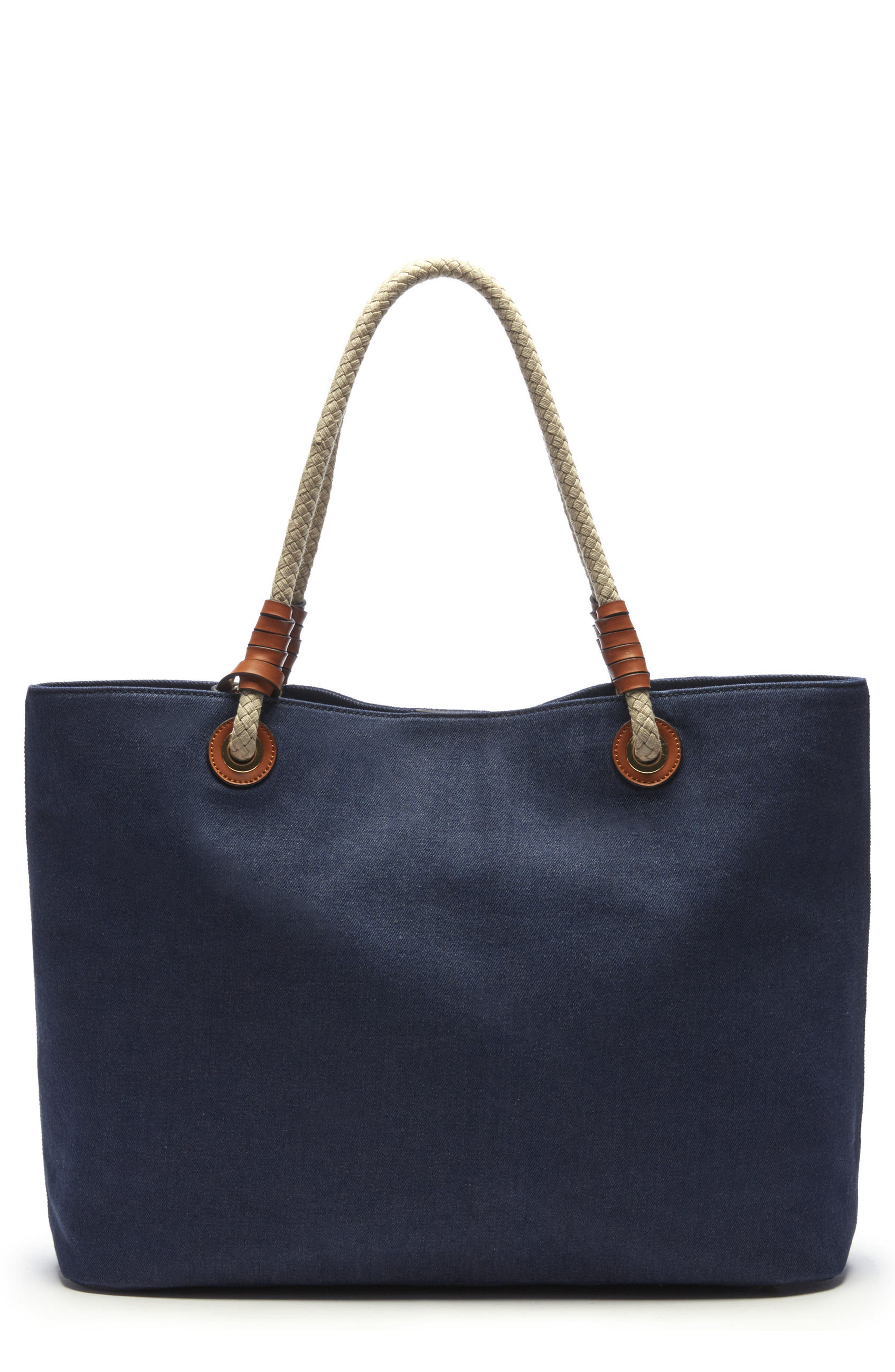 Faux Leather Oversize Tote,                         Main,                         color, Denim