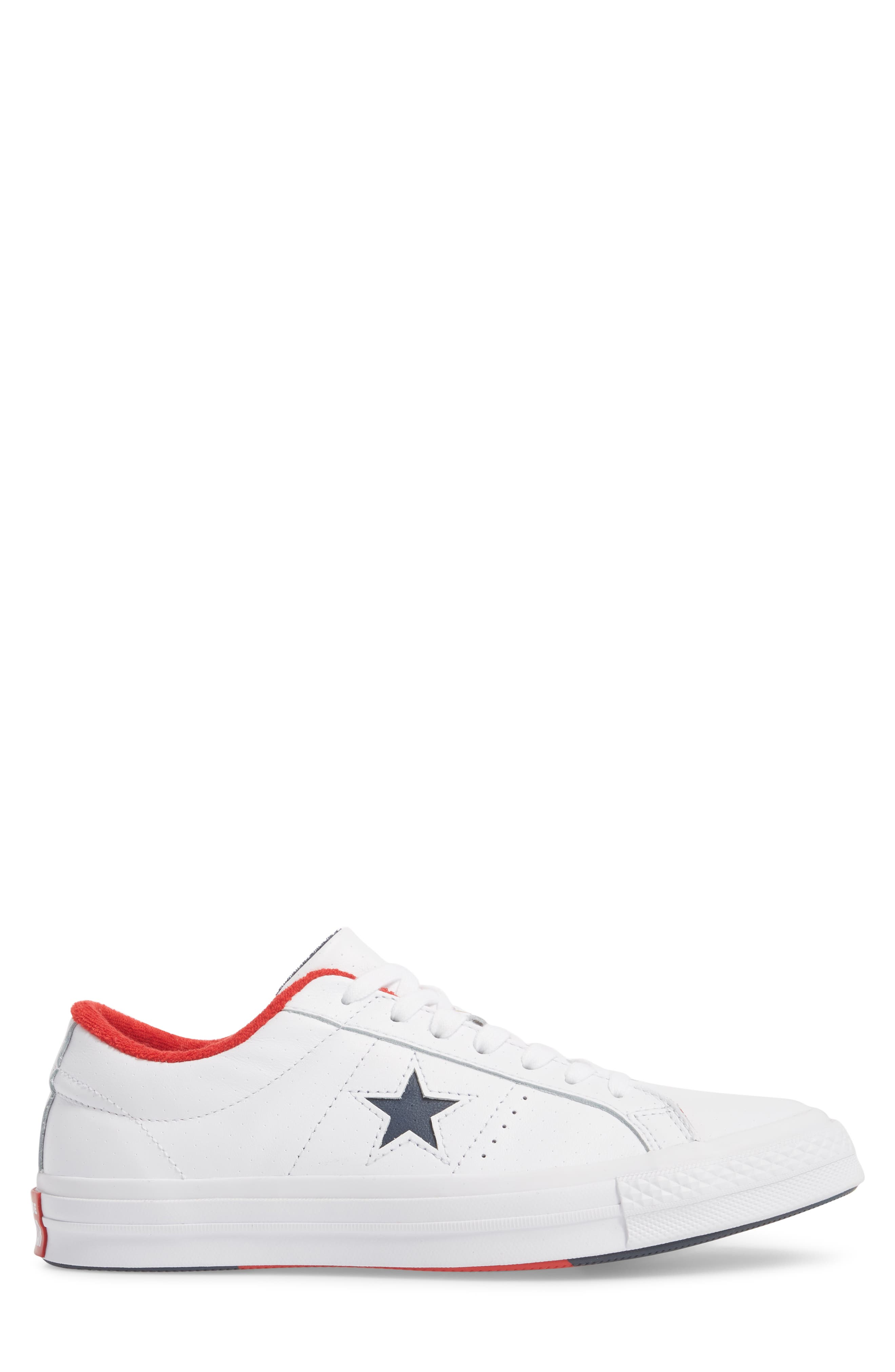 Chuck Taylor<sup>®</sup> One Star Grand Slam Sneaker,                             Alternate thumbnail 3, color,                             White/ Navy Leather