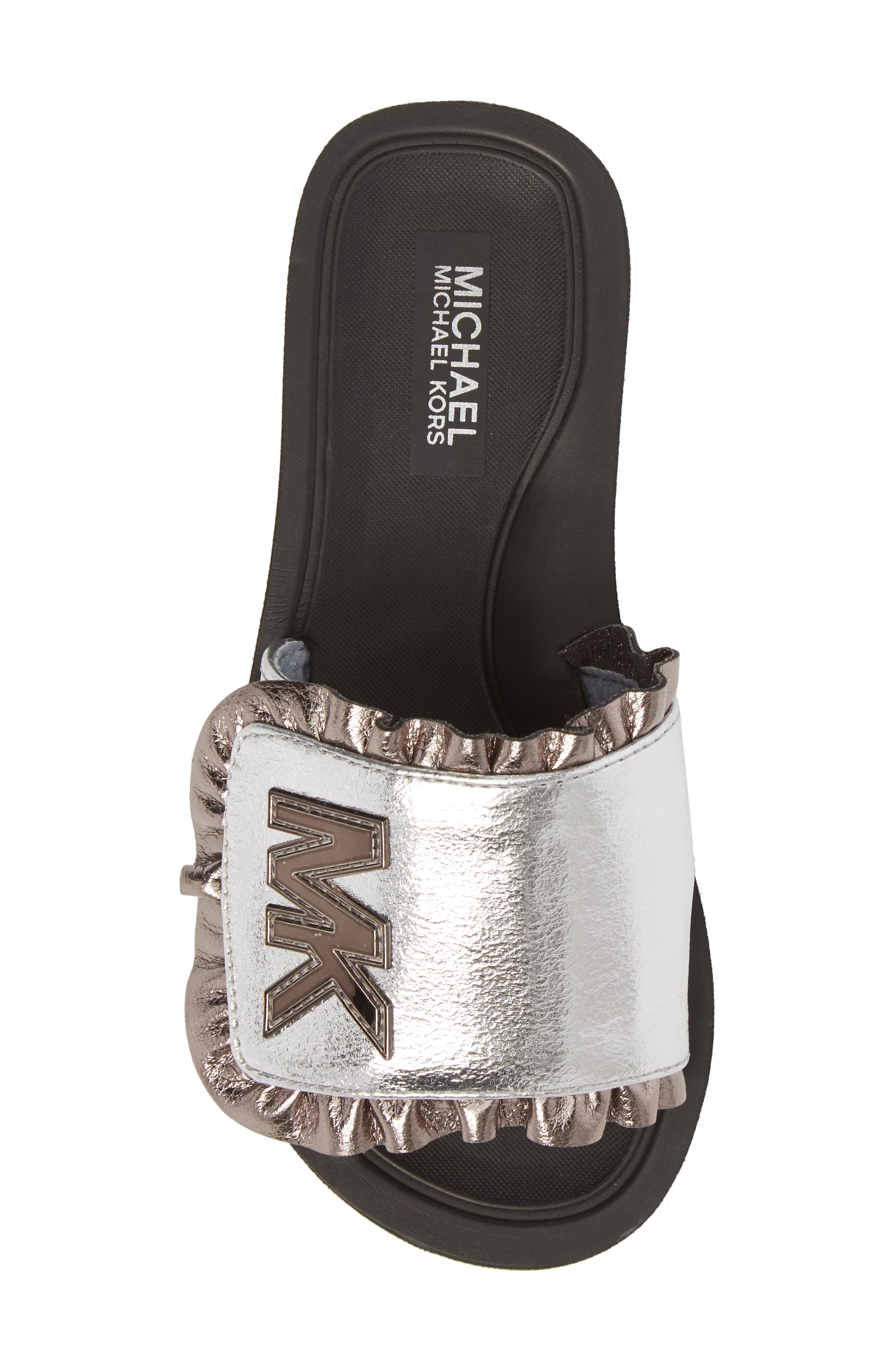 Eli Jack Metallic Slide Sandal,                             Alternate thumbnail 5, color,                             Silver