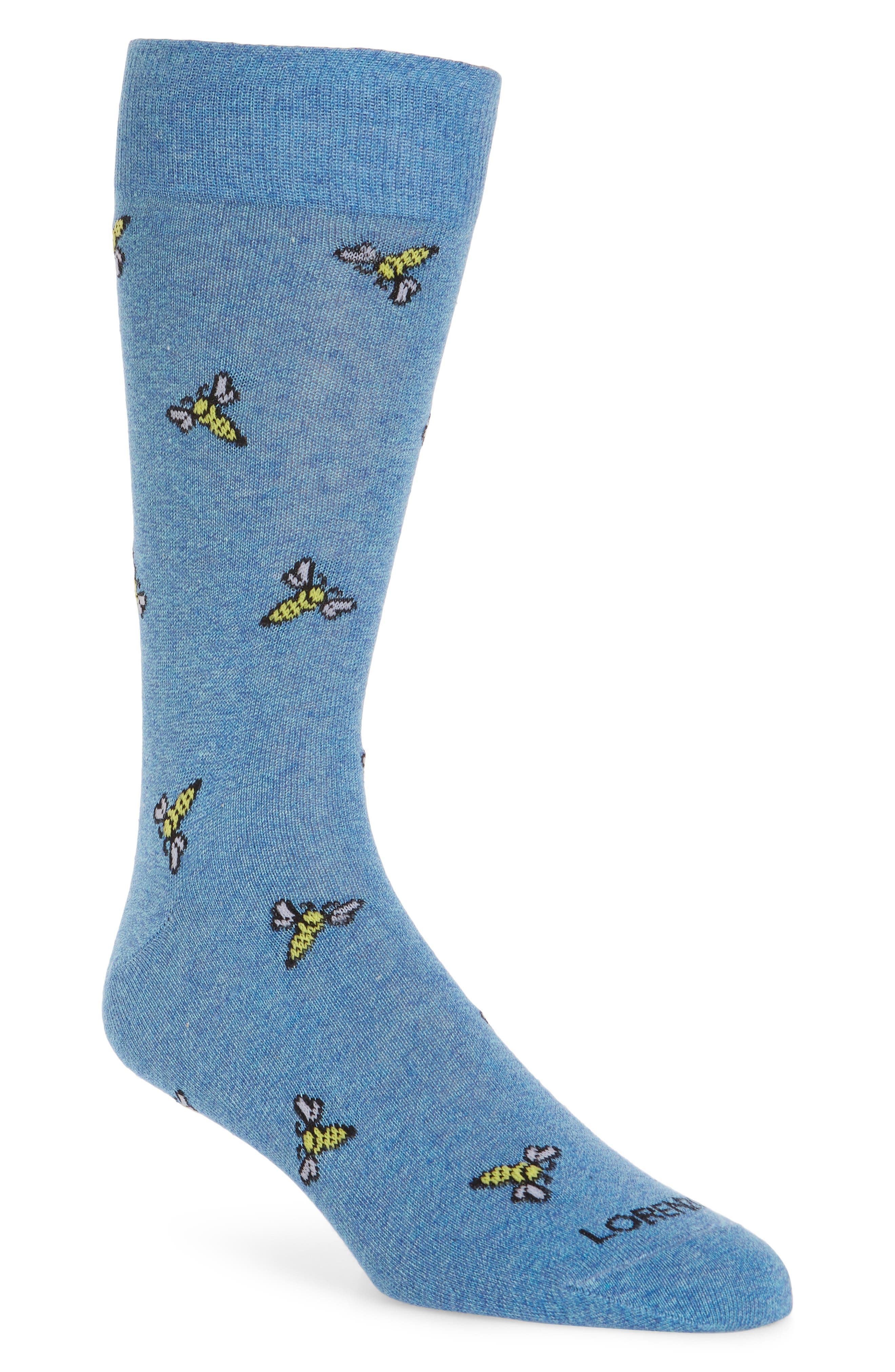Bees Crew Socks,                         Main,                         color, Light Blue