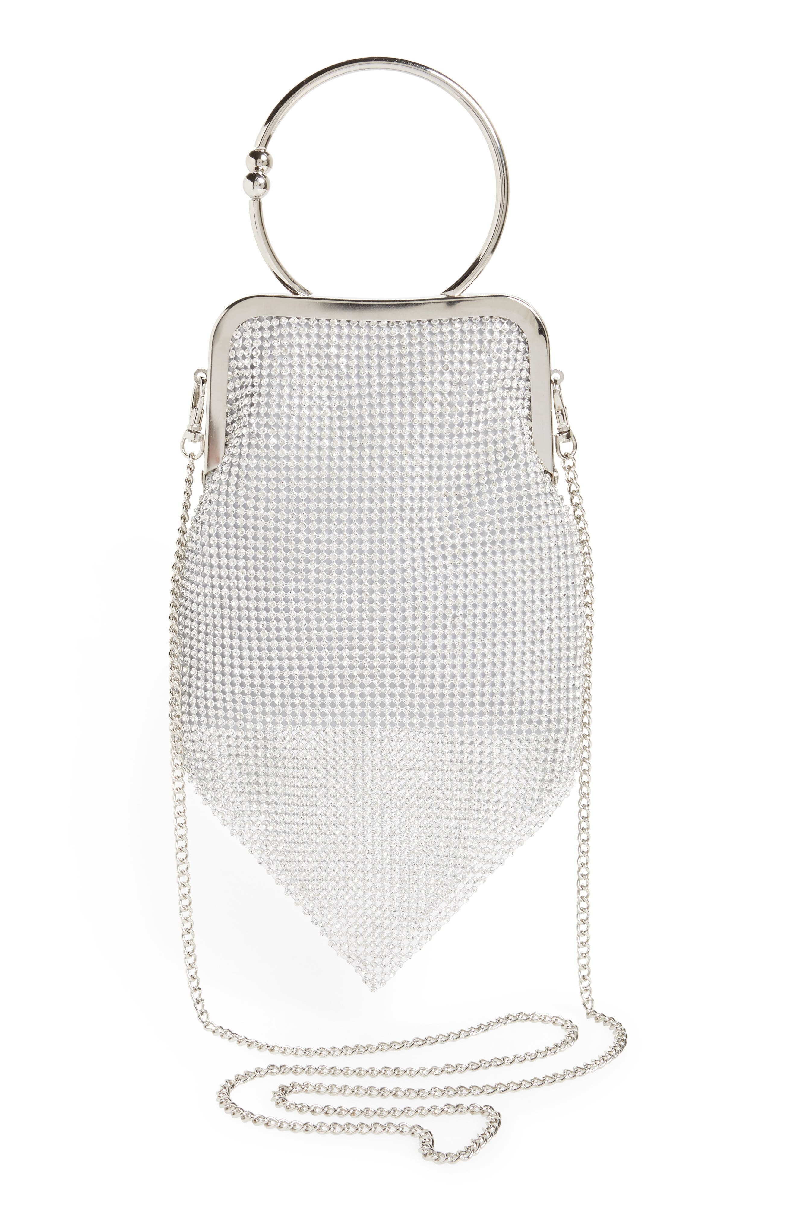 Ring Mesh Clutch,                             Alternate thumbnail 3, color,                             Silver