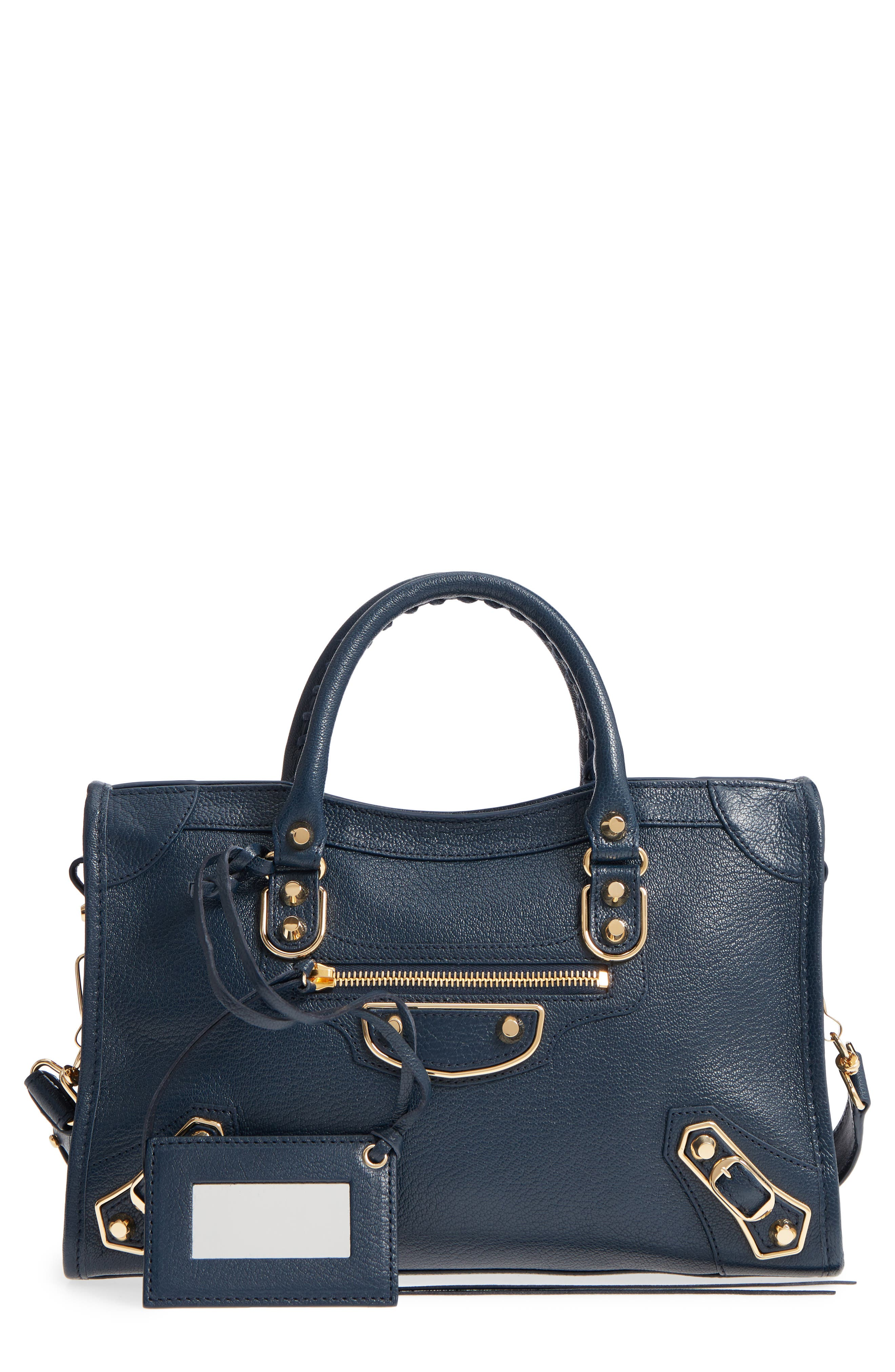 Small Classic Metallic Edge City Leather Tote,                             Main thumbnail 1, color,                             Midnight Blue