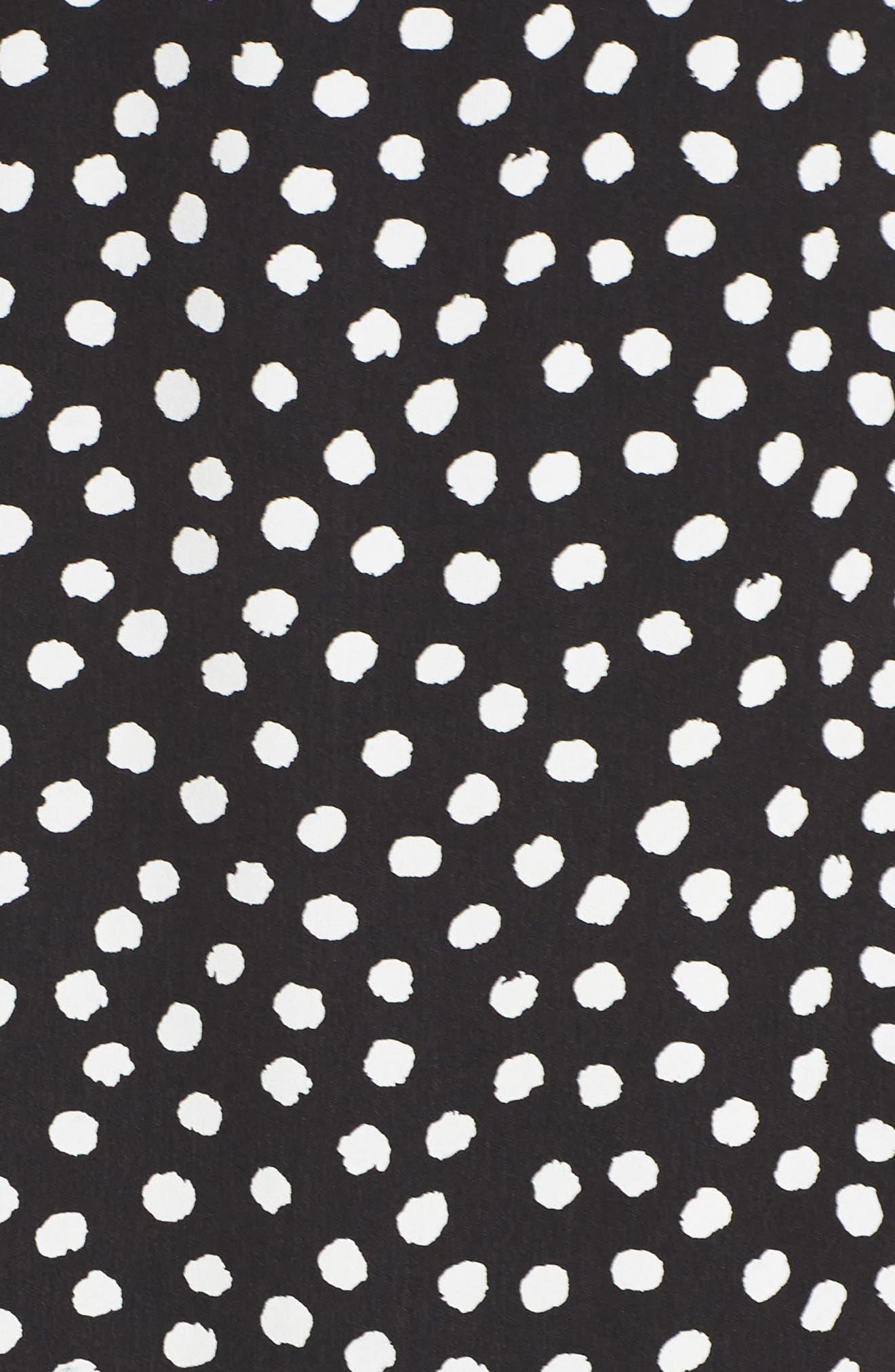Print Midi Dress,                             Alternate thumbnail 6, color,                             Black/ Soft White