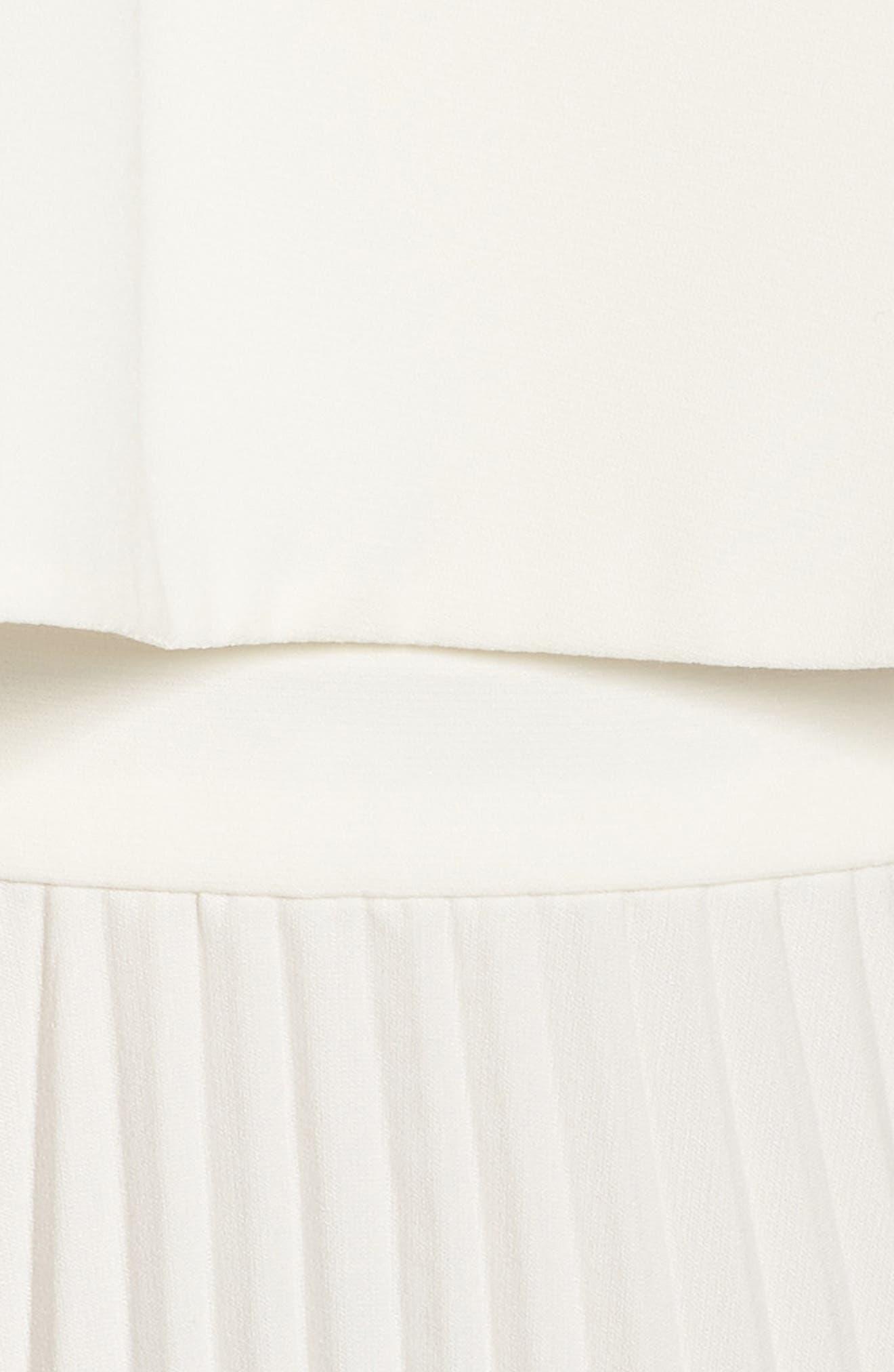 Pleated Midi Dress,                             Alternate thumbnail 5, color,                             Bone