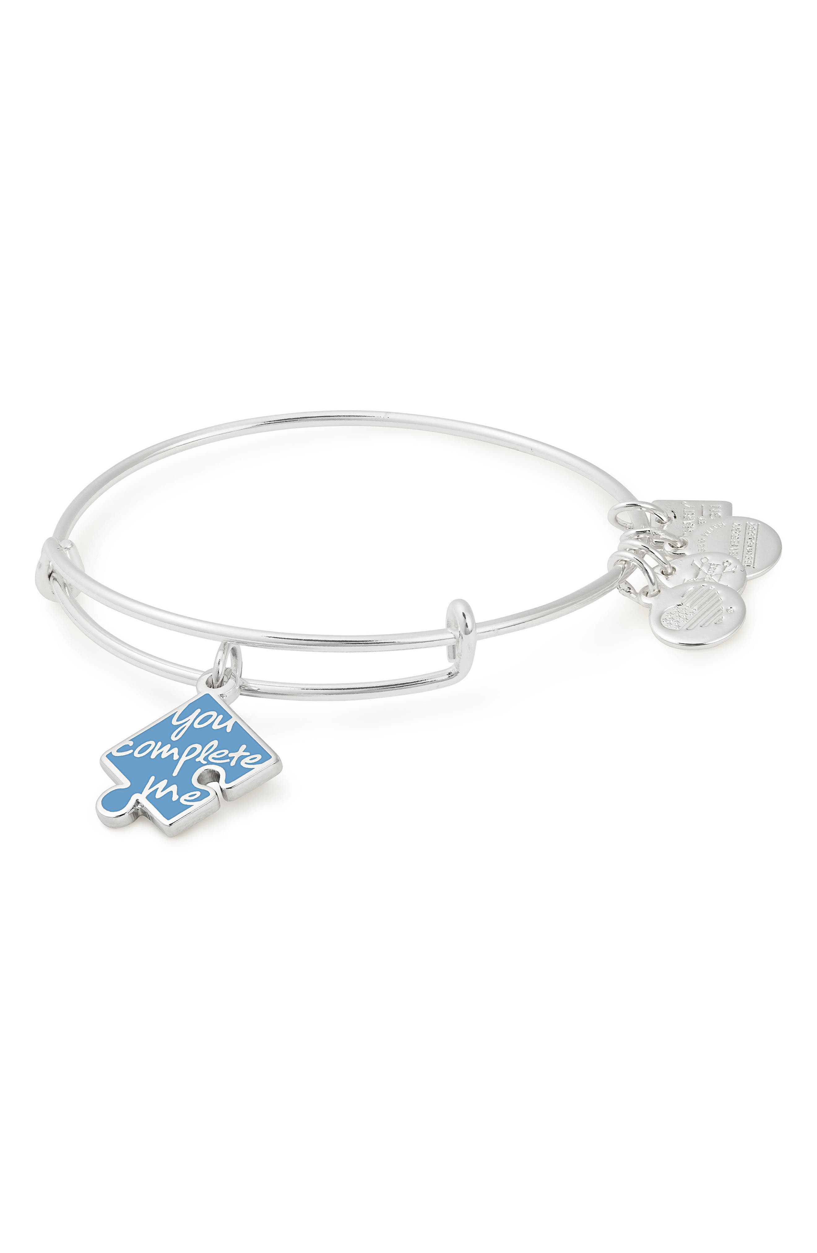 You Complete Me Bangle,                         Main,                         color, Silver