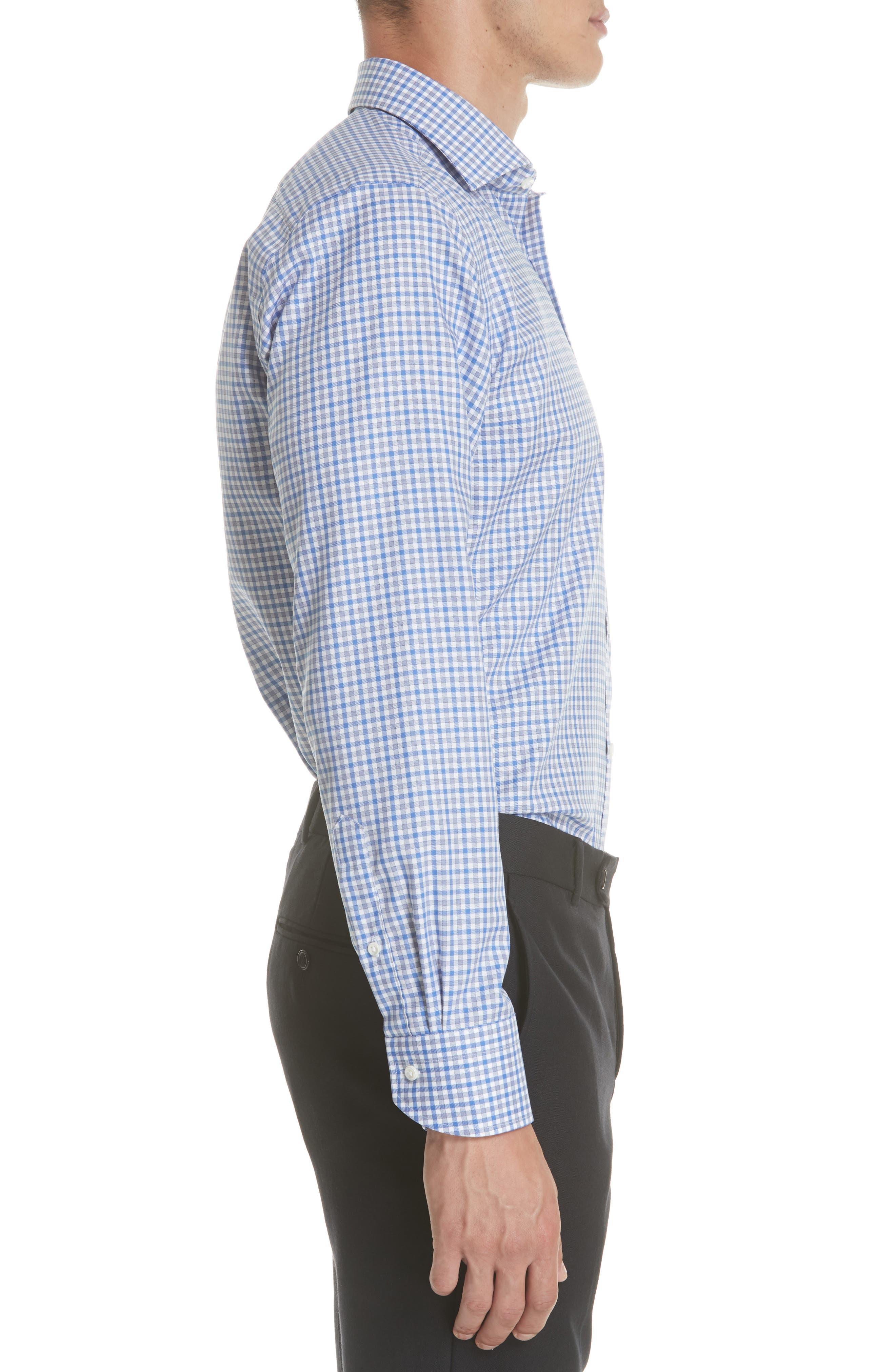 Regular Fit Non-Iron Check Dress Shirt,                             Alternate thumbnail 4, color,                             Med Blue