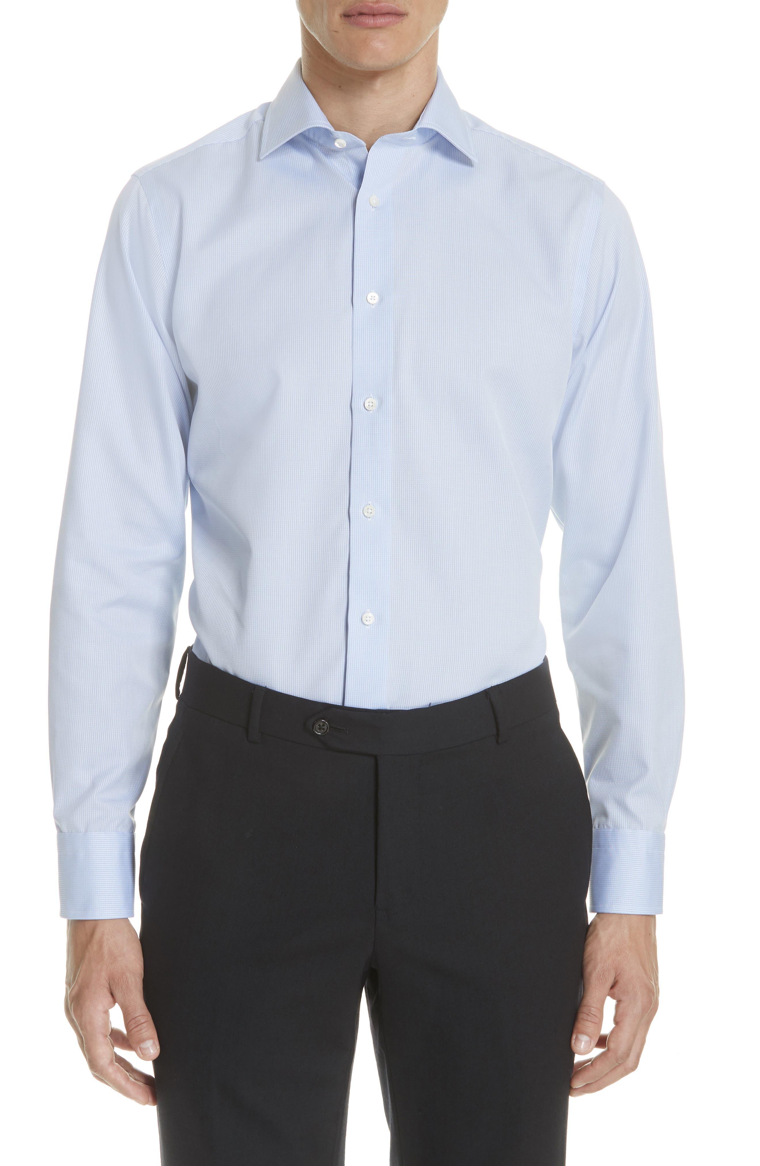 Regular Fit Print Dress Shirt,                             Main thumbnail 1, color,                             Blue