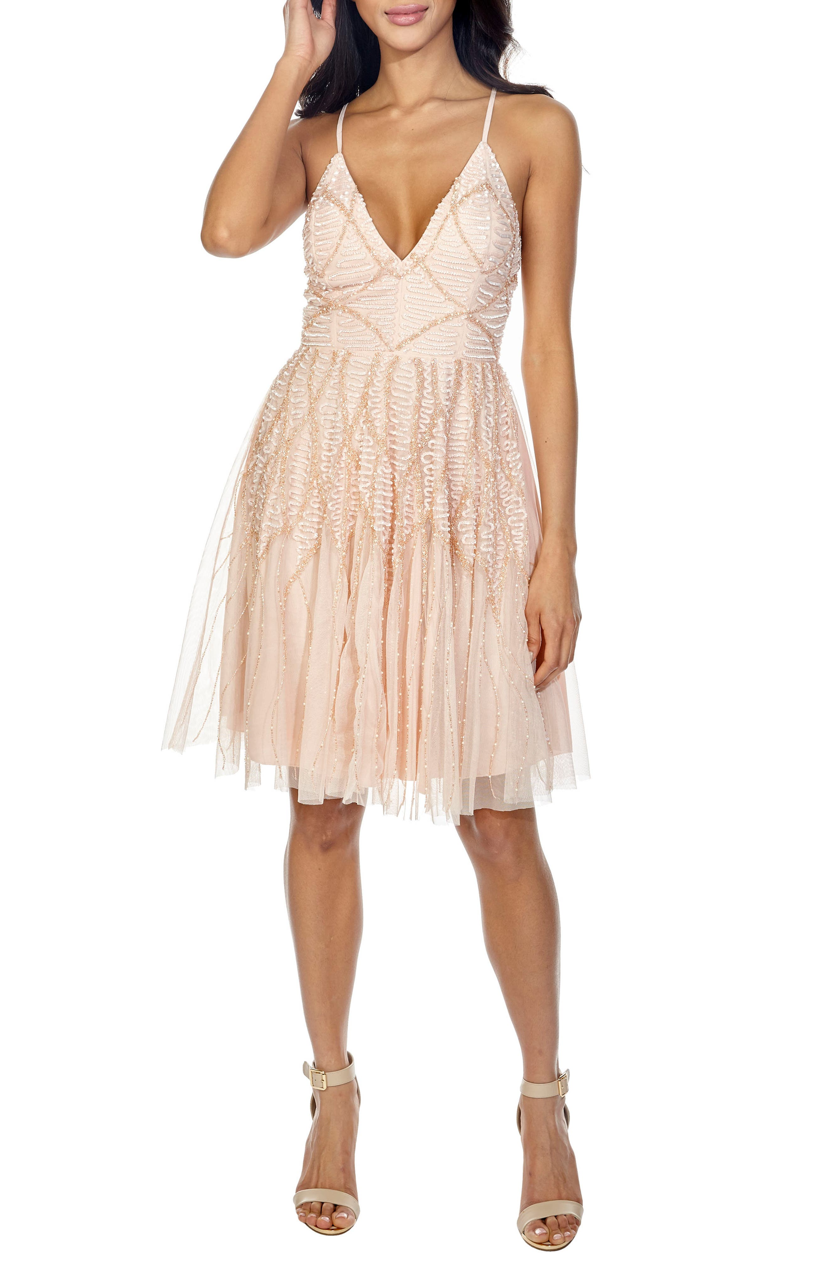 Plunging Sequin Fit & Flare Dress,                         Main,                         color, Nude