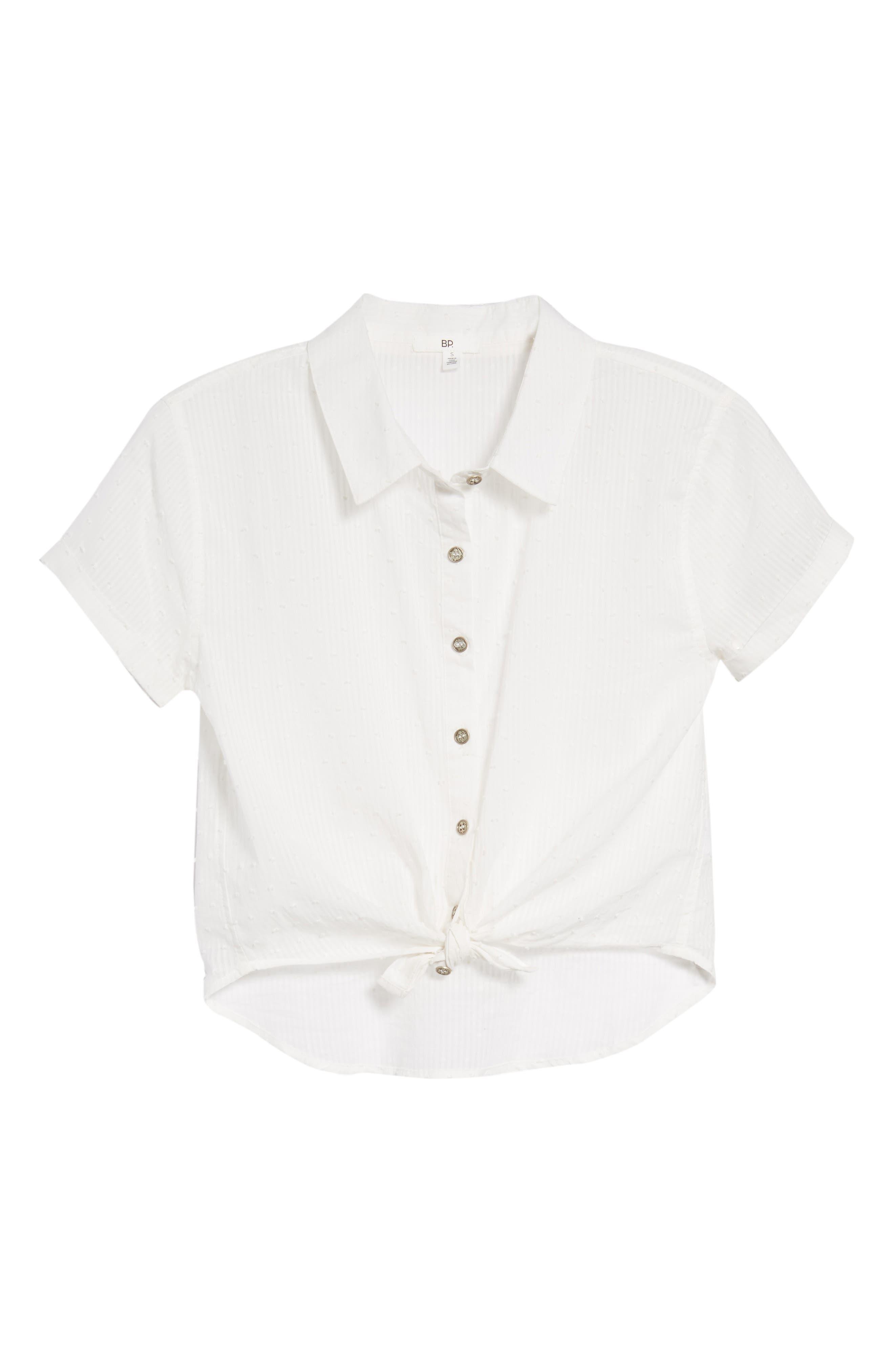 Tie Hem Swiss Dot Camp Shirt,                             Alternate thumbnail 6, color,                             White