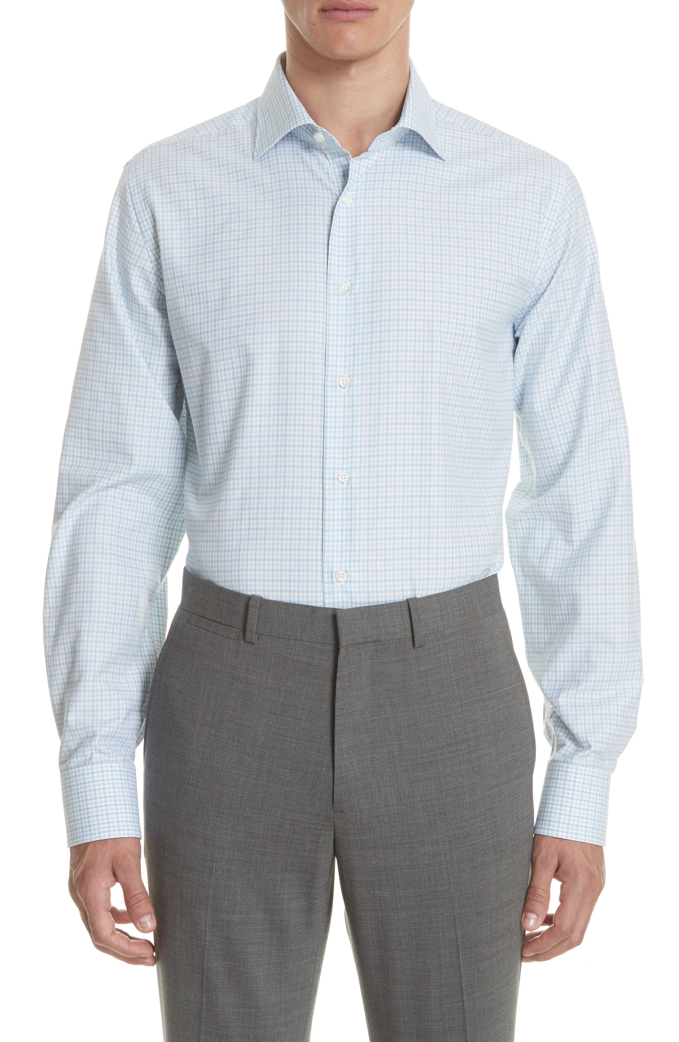 Regular Fit Check Dress Shirt,                         Main,                         color, Turquoise
