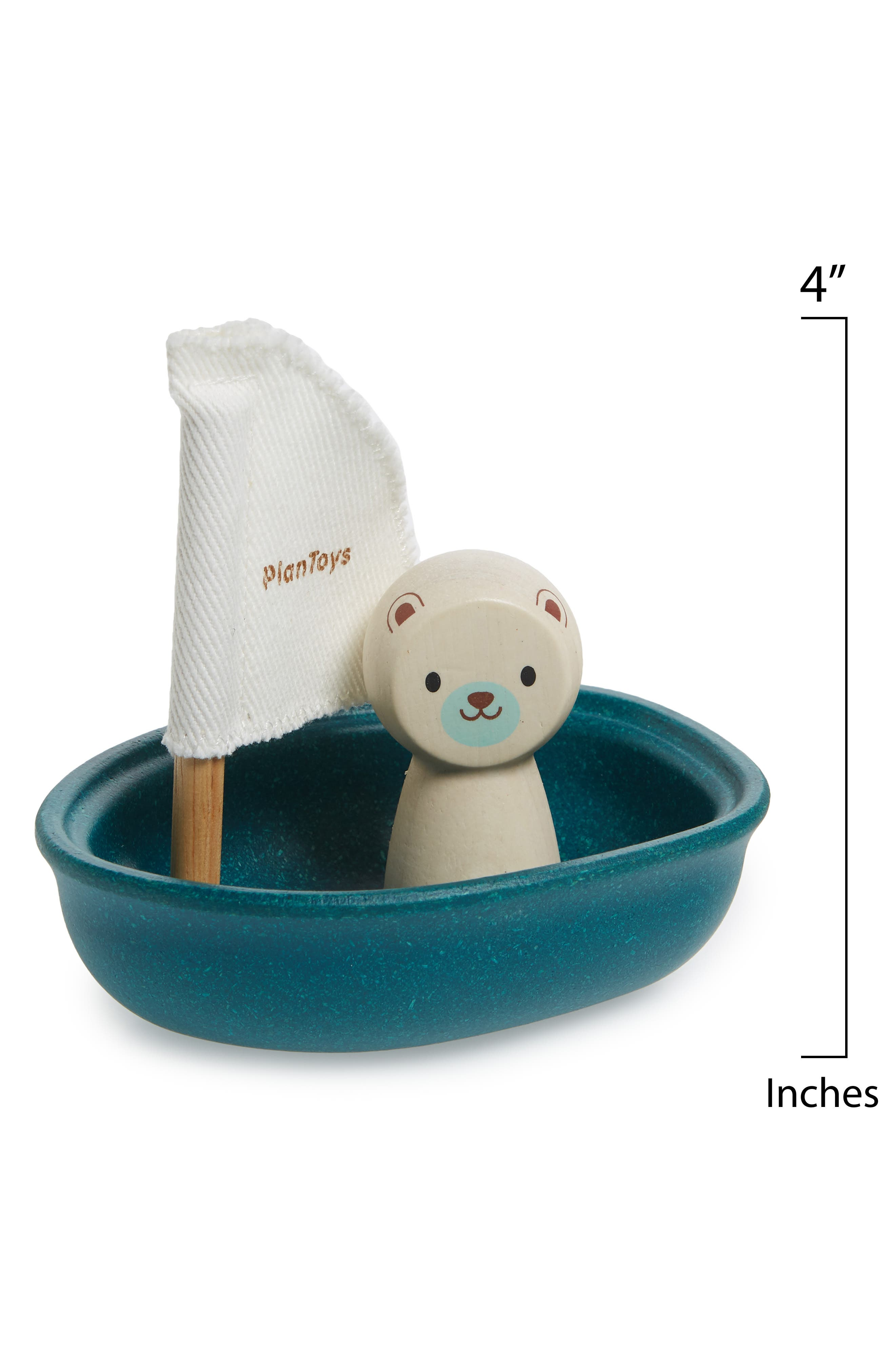 Plan Toys<sup>®</sup> Polar Bear Sailing Boat Toy,                             Alternate thumbnail 2, color,                             Blue