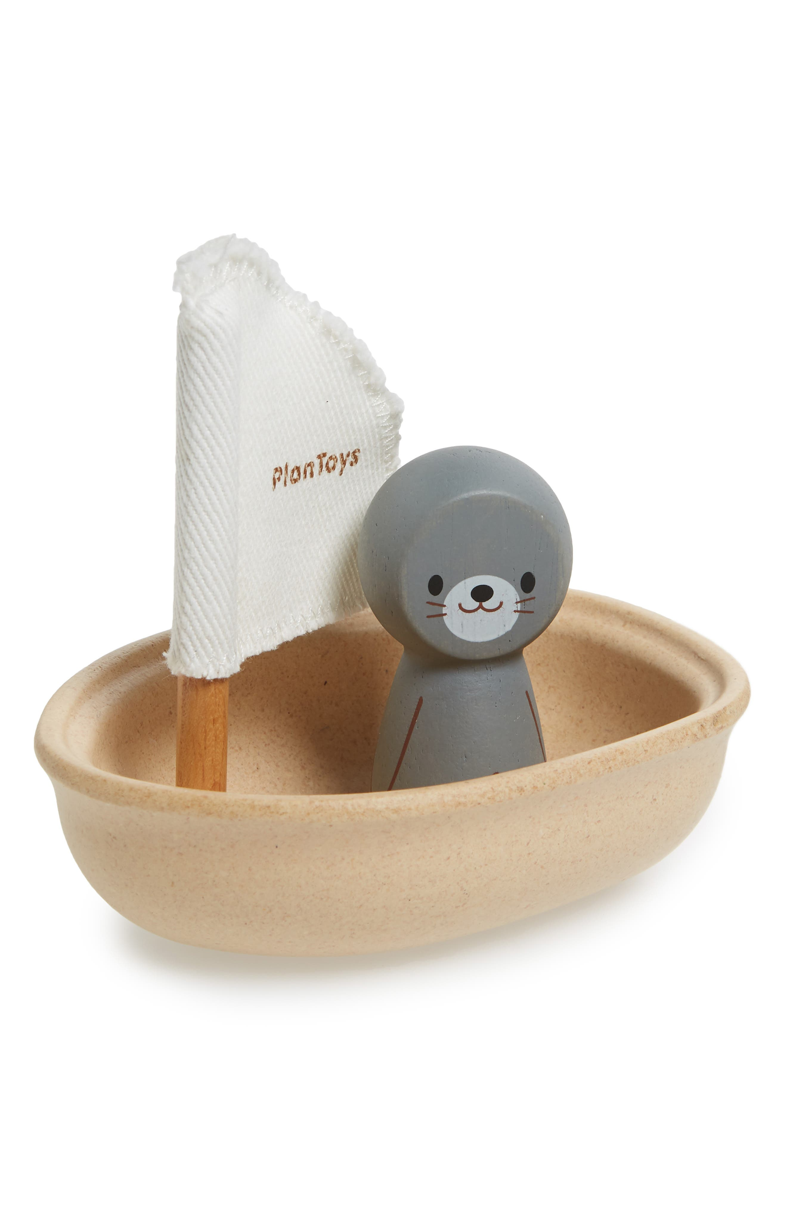 Plan Toys<sup>®</sup> Seal Sailing Boat Toy,                         Main,                         color, Brown
