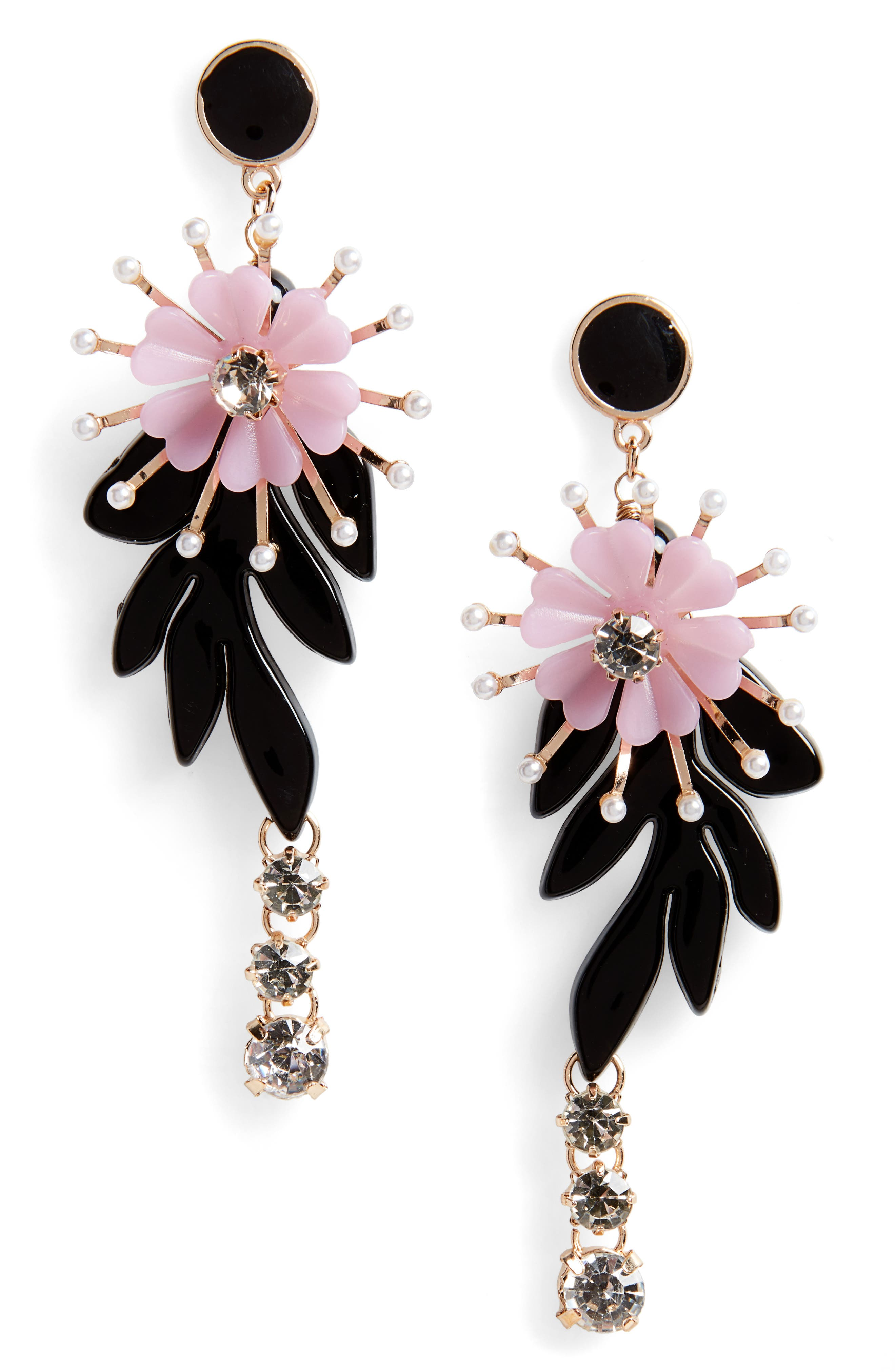 Floral Crystal & Imitation Pearl Drop Earrings,                             Main thumbnail 1, color,                             Gold/ Black/ Purple