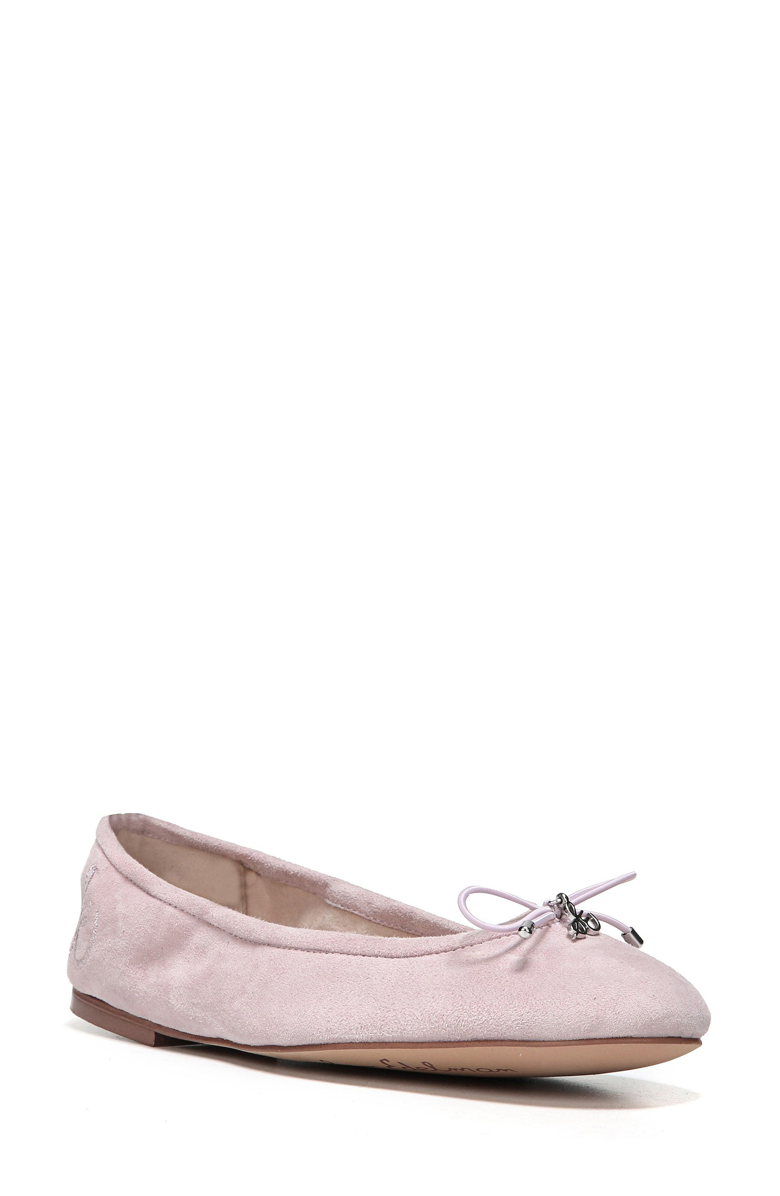 Felicia Flat,                             Main thumbnail 1, color,                             Pearl Pink Suede