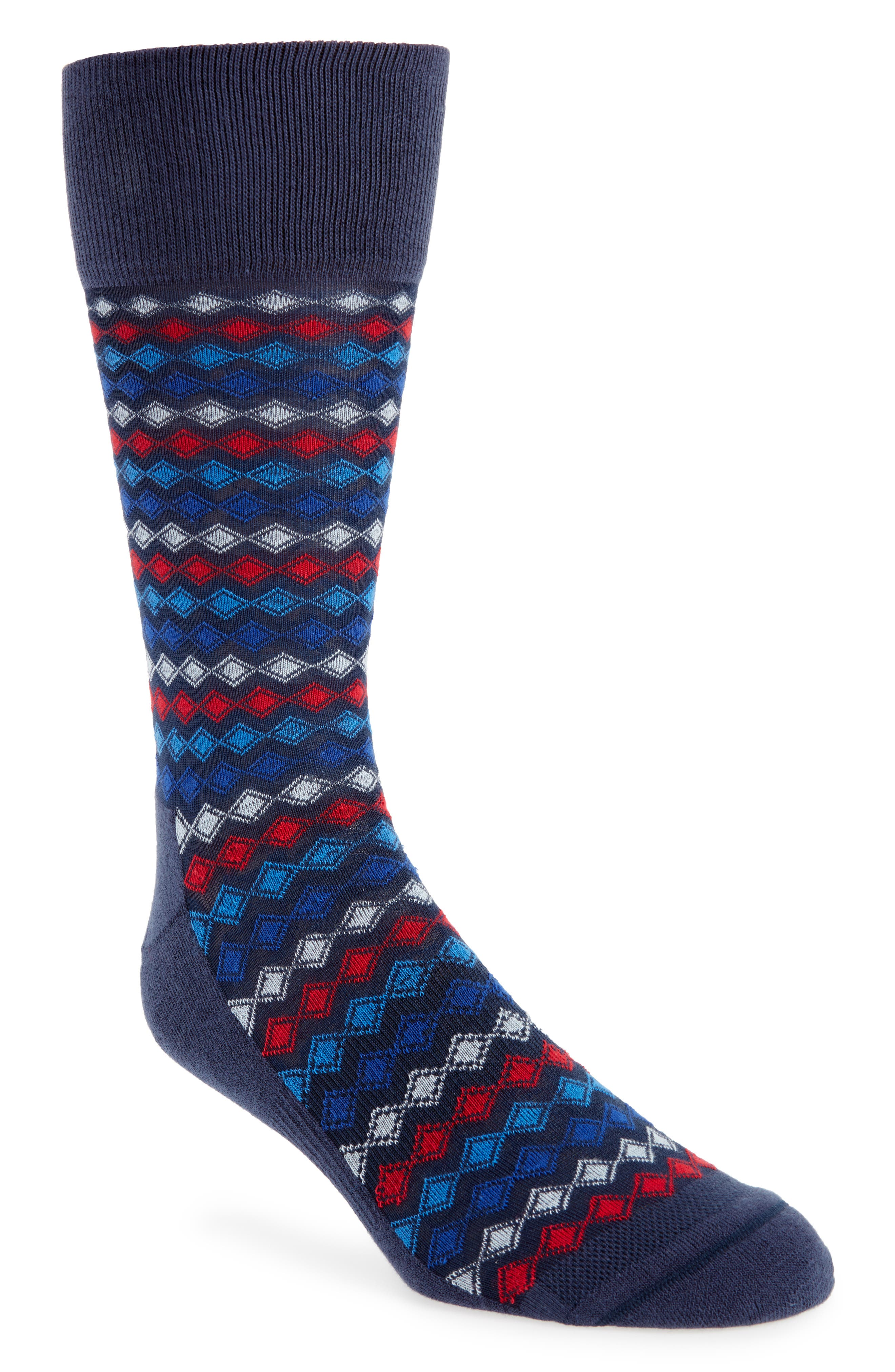 Striped Diamond Grid Socks,                             Main thumbnail 1, color,                             Navy/ Red