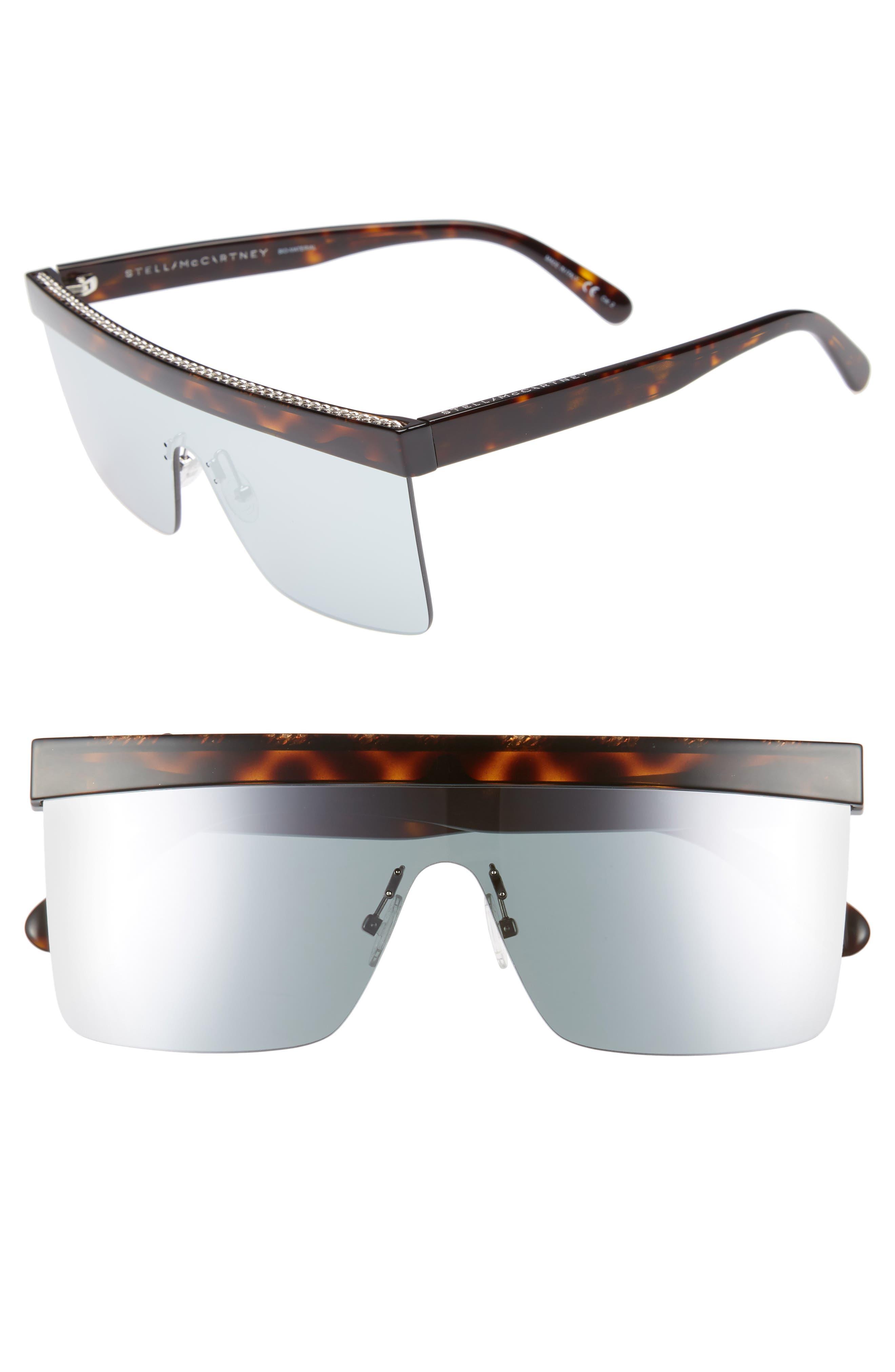 99mm Shield Sunglasses,                             Main thumbnail 1, color,                             Shiny Dark Havana