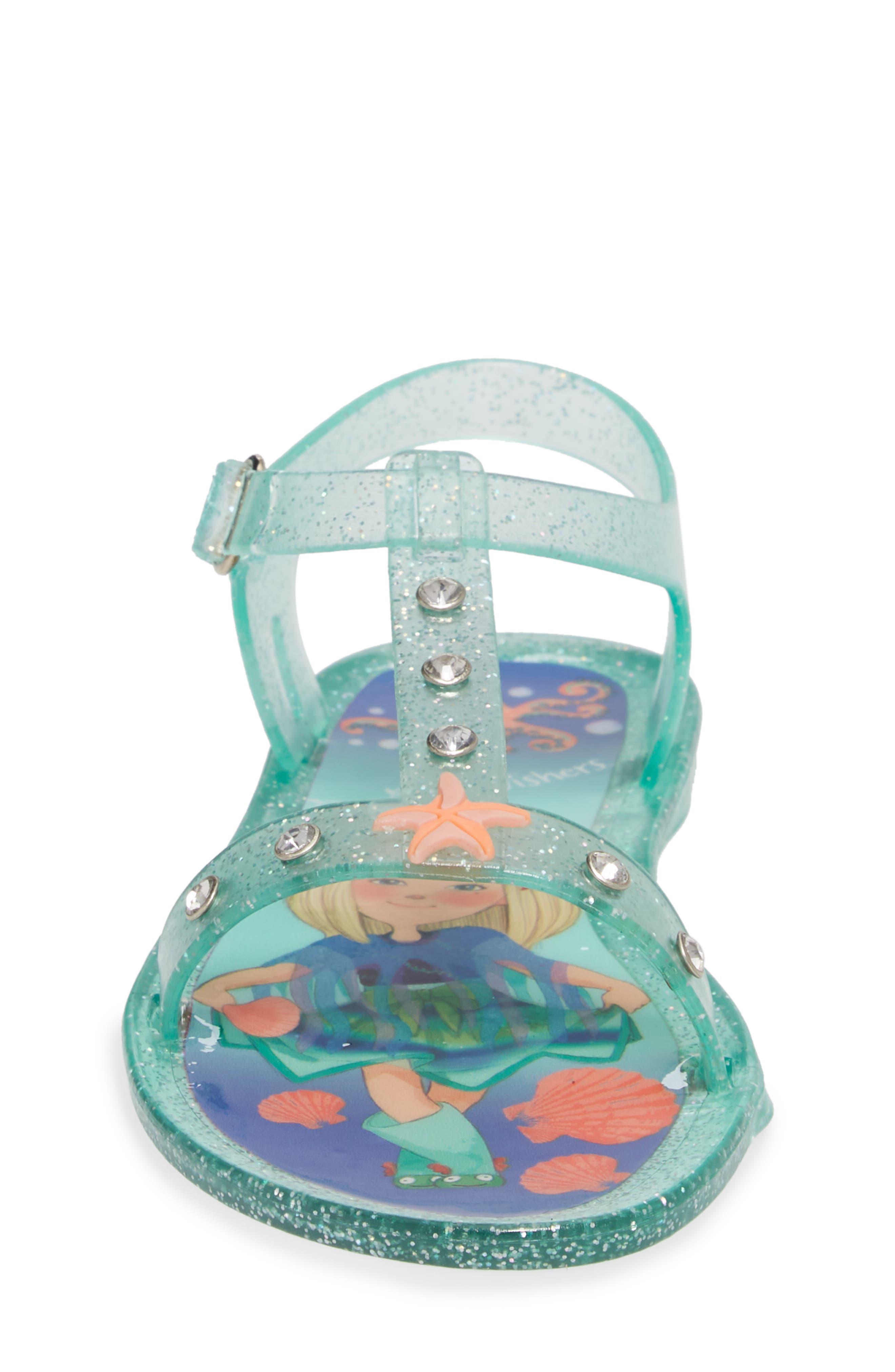 Camille Glitter Jelly Sandal,                             Alternate thumbnail 4, color,                             Beach Glass