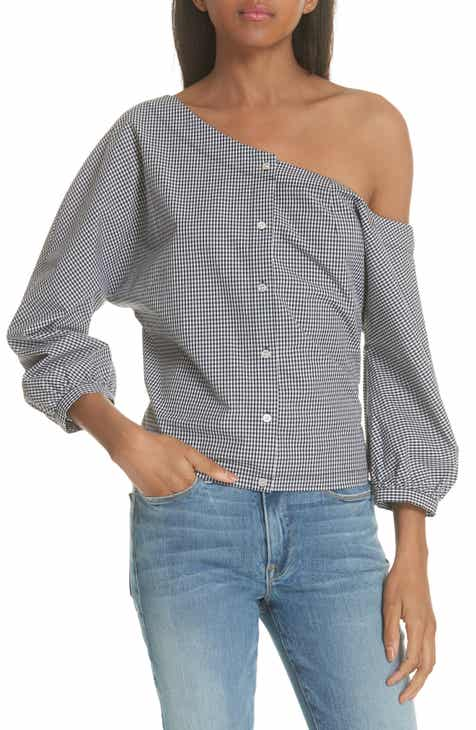 d05263f4958c FRAME Gingham Tie Back Off the Shoulder Top (Nordstrom Exclusive)