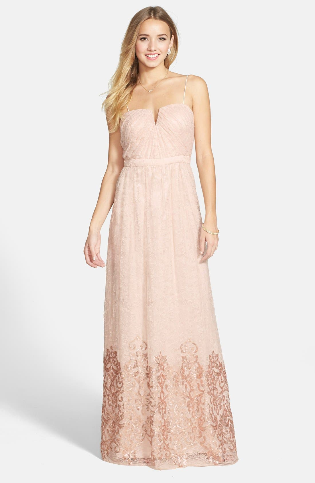 Main Image - Hailey by Adrianna Papell Sequin Hem Lace Gown