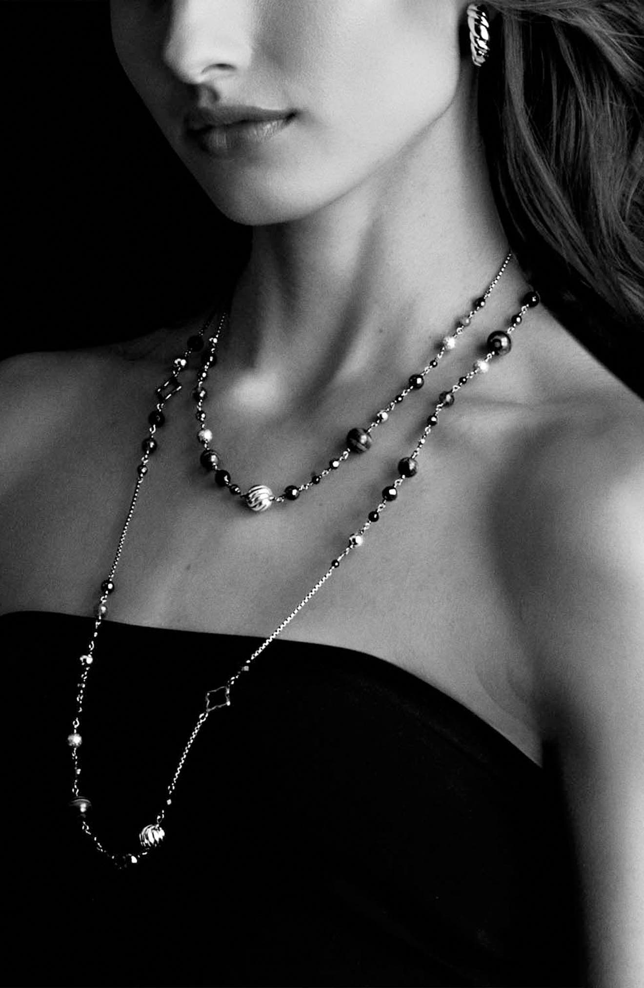 'DY Elements' Chain Necklace with Black Onyx and Hematine,                             Alternate thumbnail 3, color,