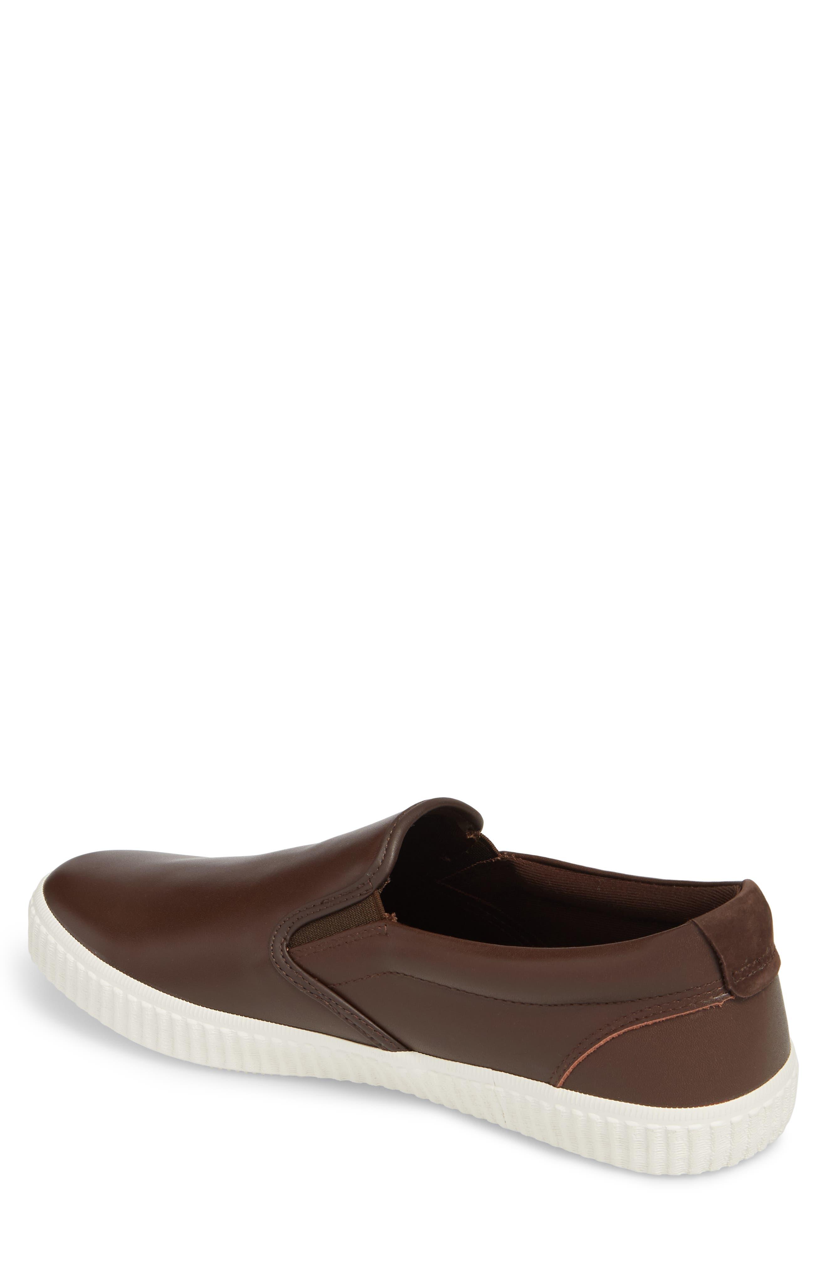 Riverside Slip-On Sneaker,                             Alternate thumbnail 2, color,                             Brown/ Off White Leather