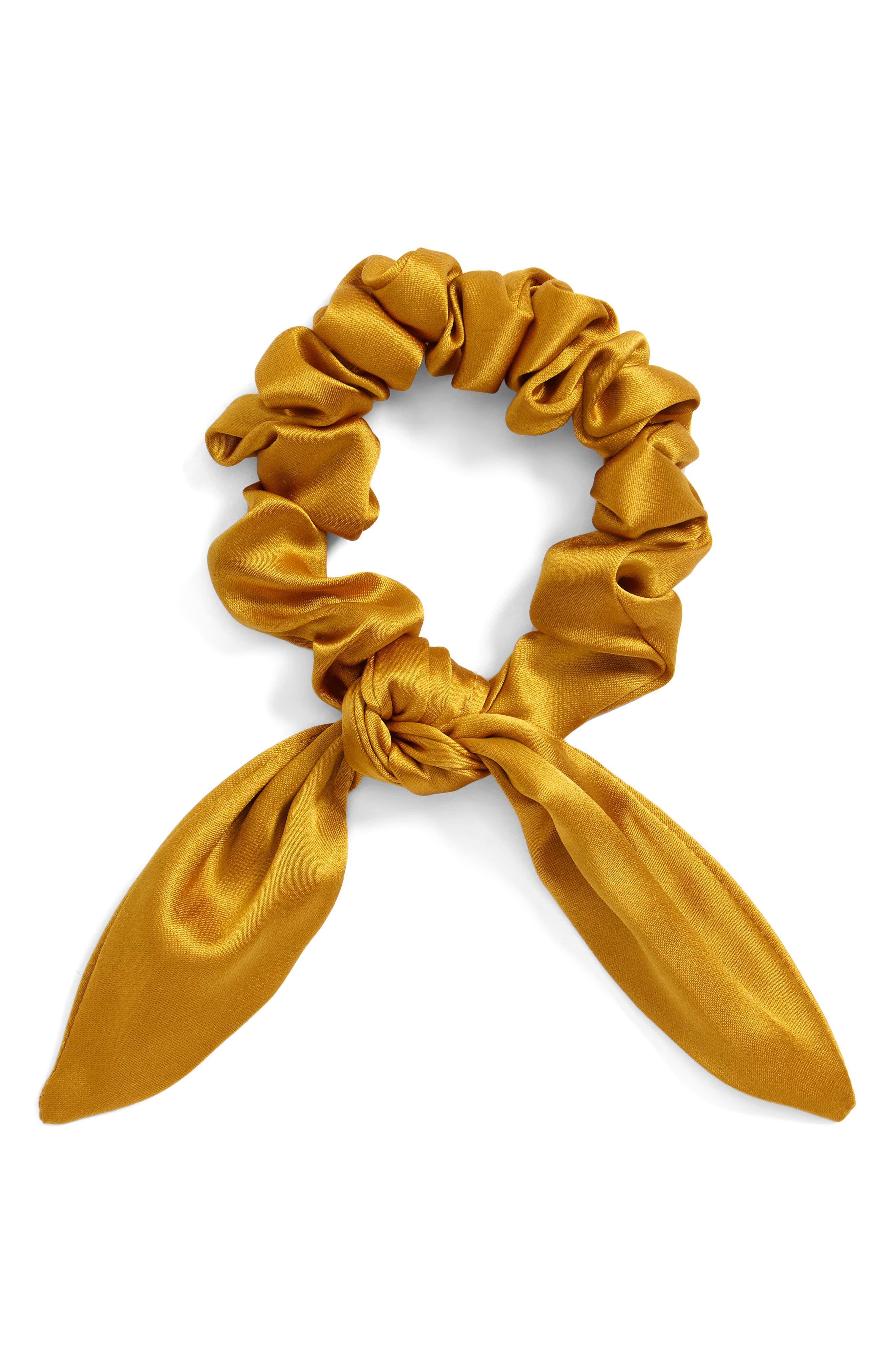 Chiquita Silk Scrunchie,                         Main,                         color, Mustard
