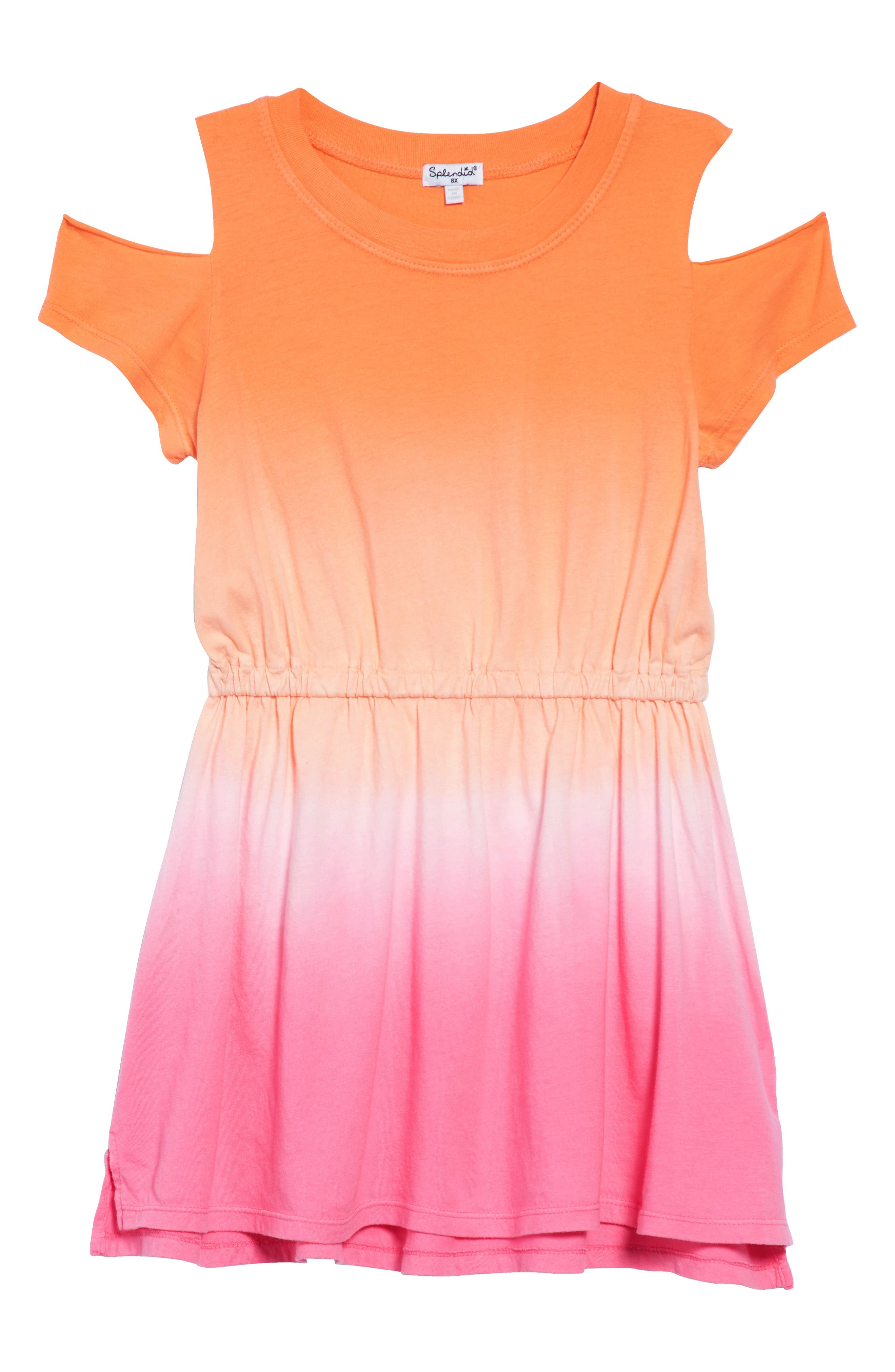 Dip Dye Cold Shoulder Dress,                             Main thumbnail 1, color,                             Desert Flower