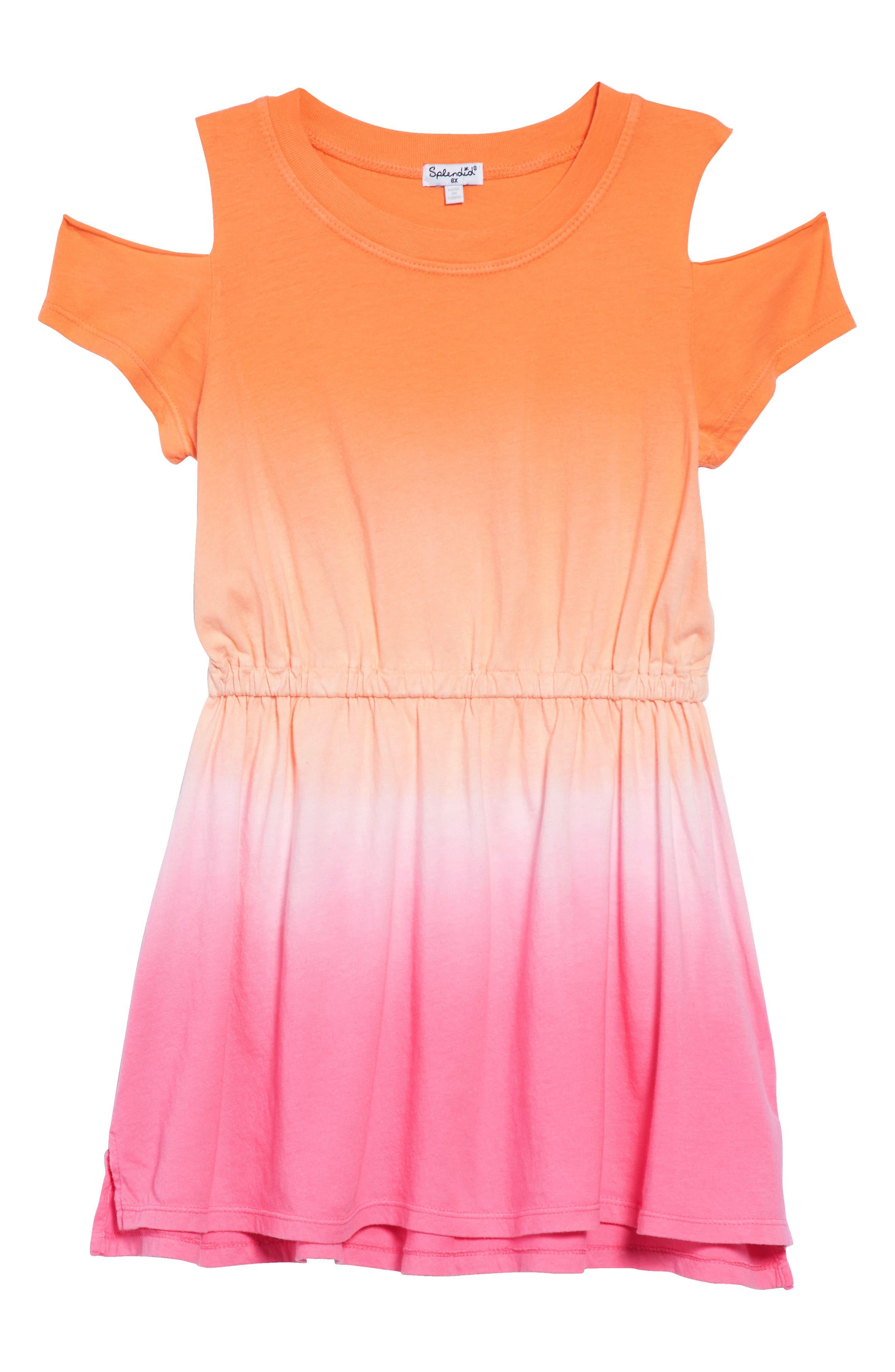 Dip Dye Cold Shoulder Dress,                         Main,                         color, Desert Flower