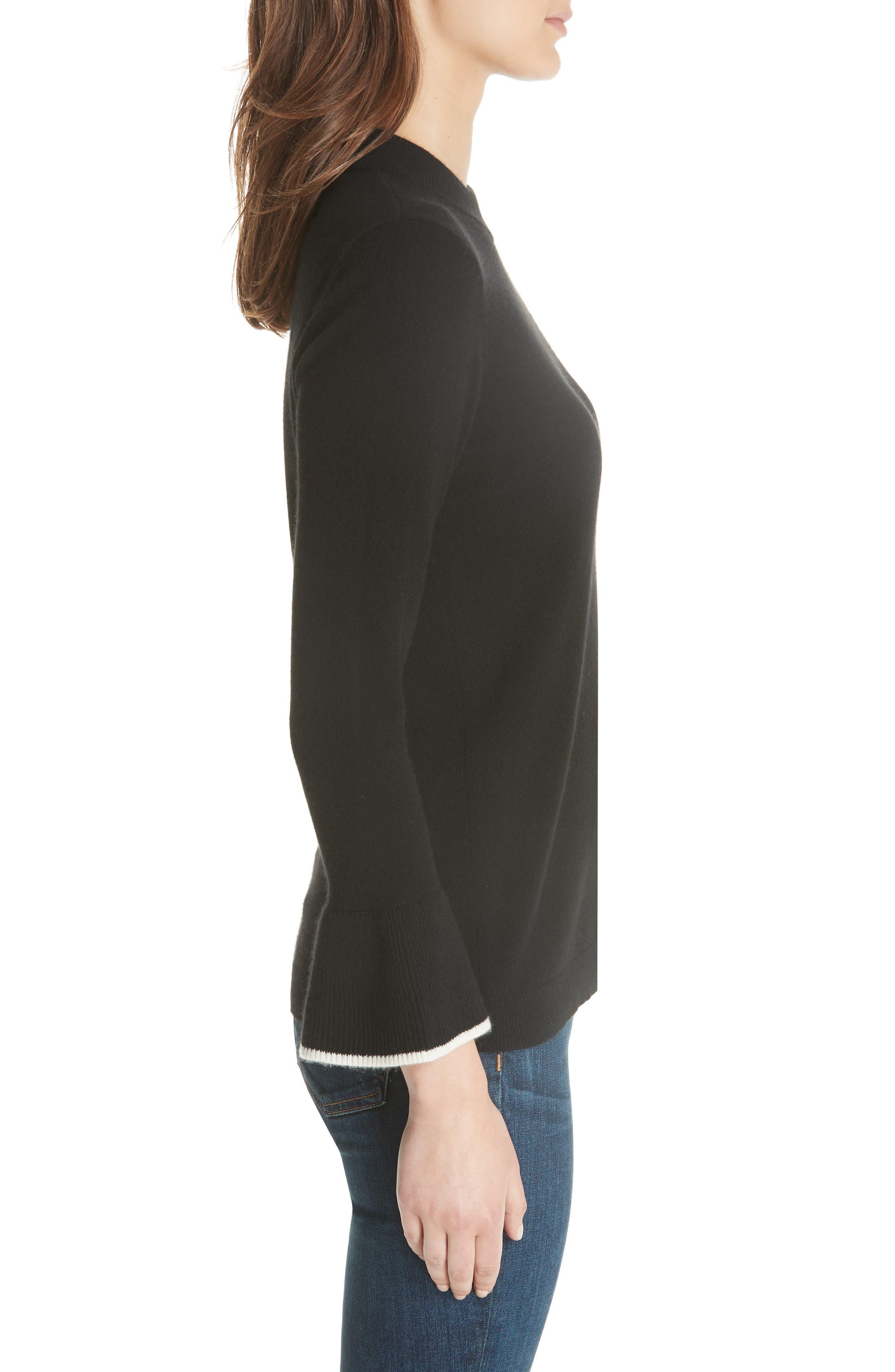 Mar Cashmere Sweater,                             Alternate thumbnail 3, color,                             Black