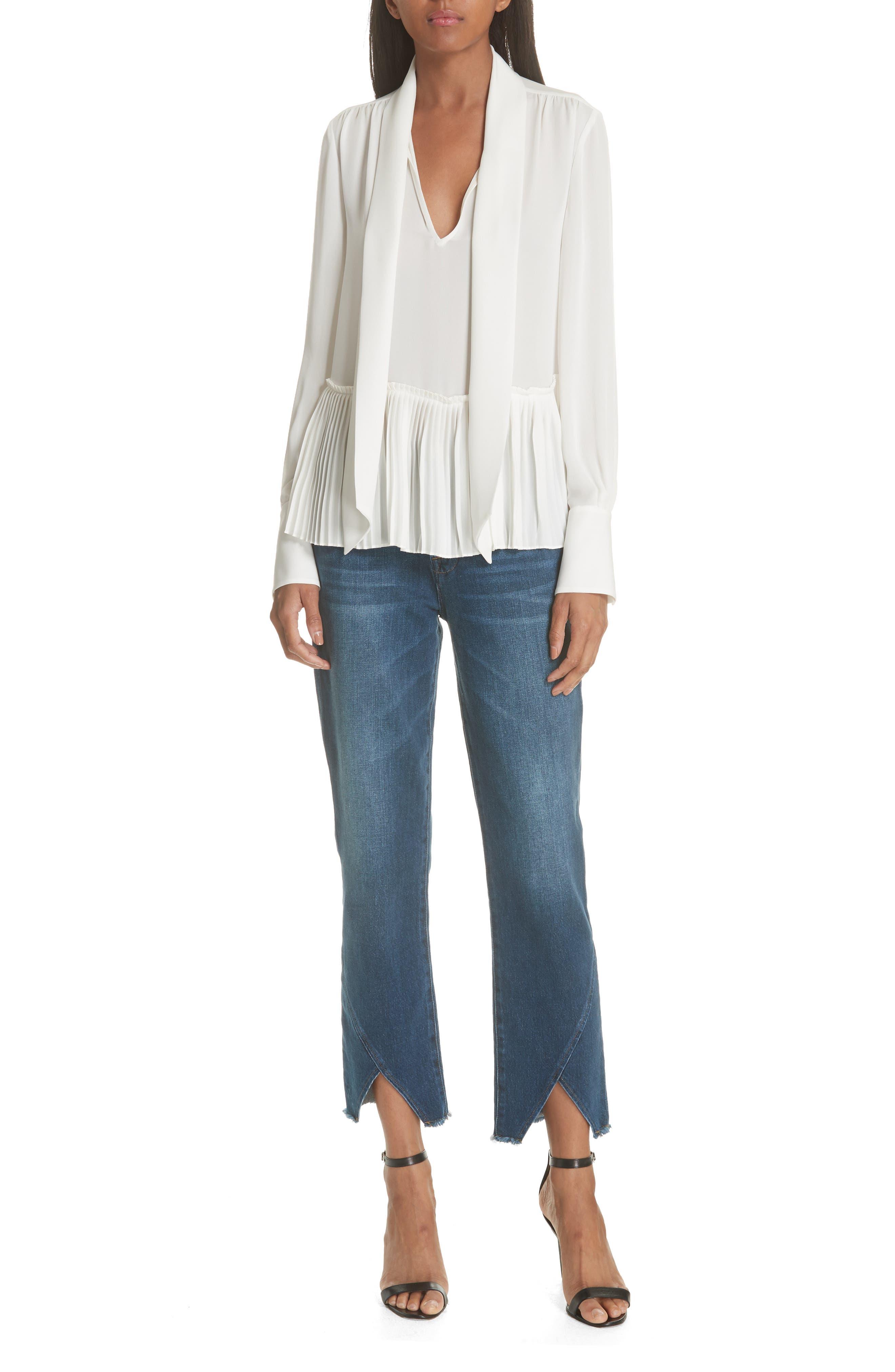 Le High Straight Asymmetrical Hem Jeans,                             Alternate thumbnail 8, color,                             Kingsway