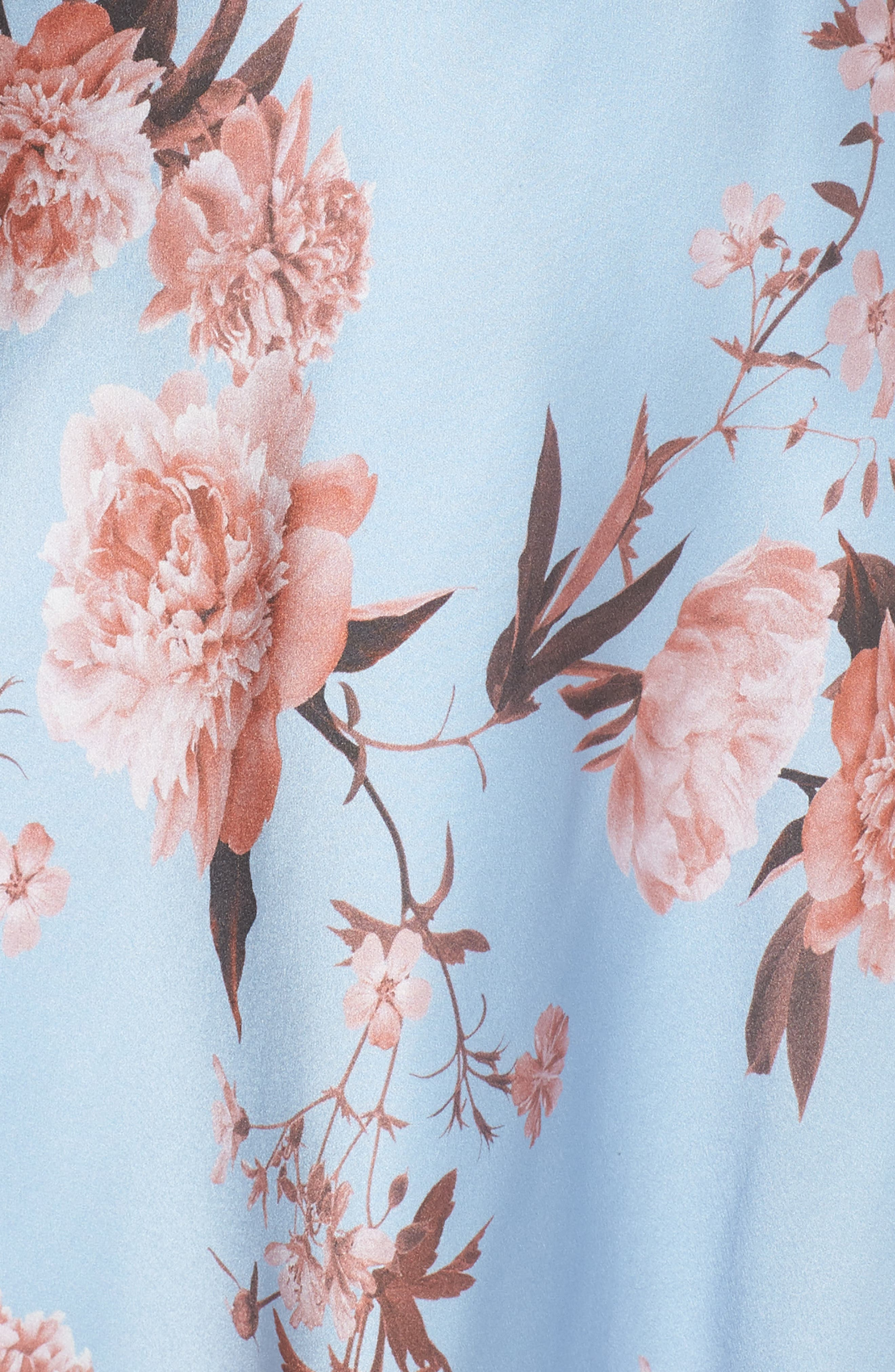 The Farren Floral Silk Dress,                             Alternate thumbnail 5, color,                             Sky Blossom Floral