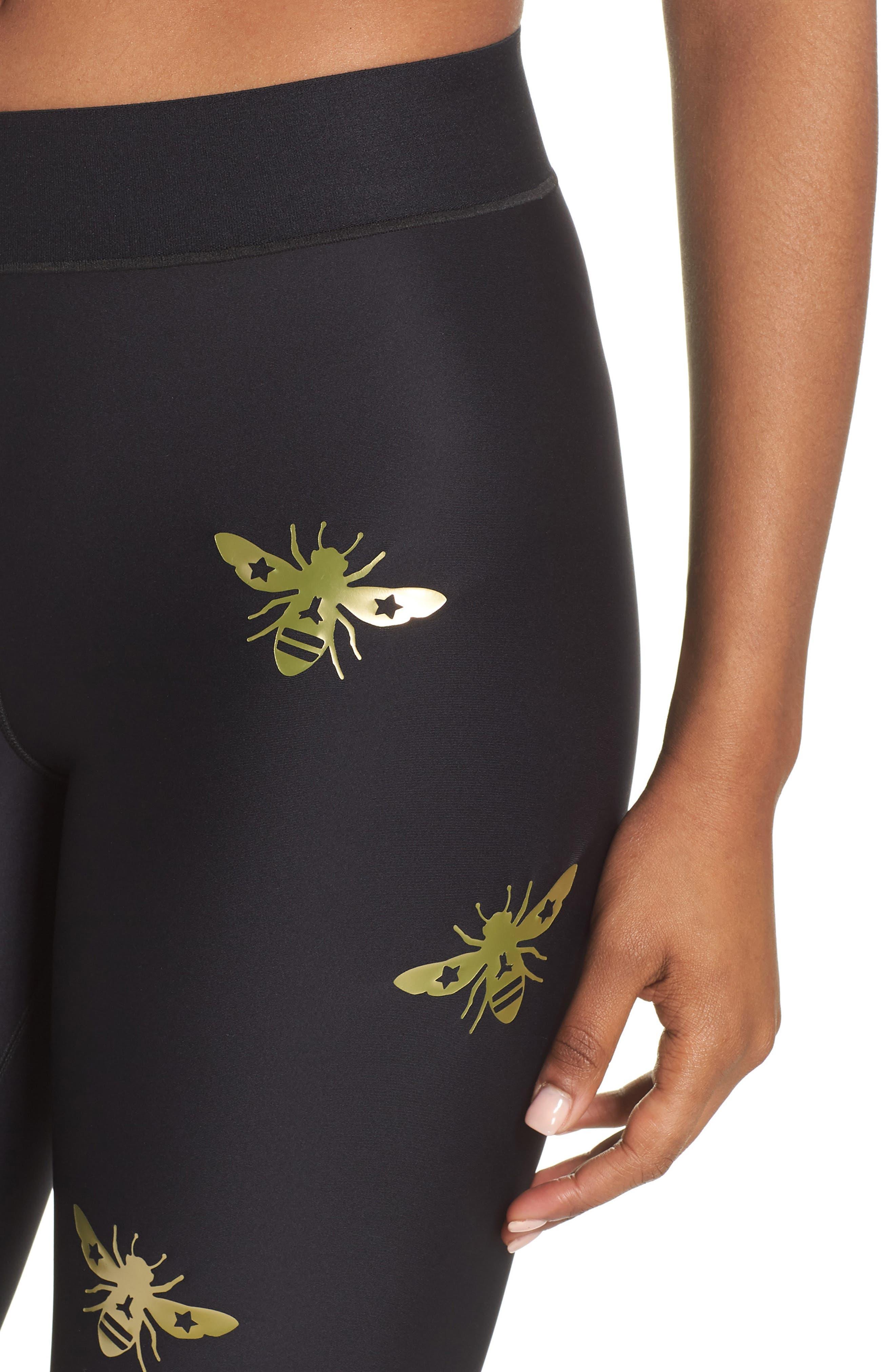 Ultra Bee Leggings,                             Alternate thumbnail 4, color,                             Nero/ Gold